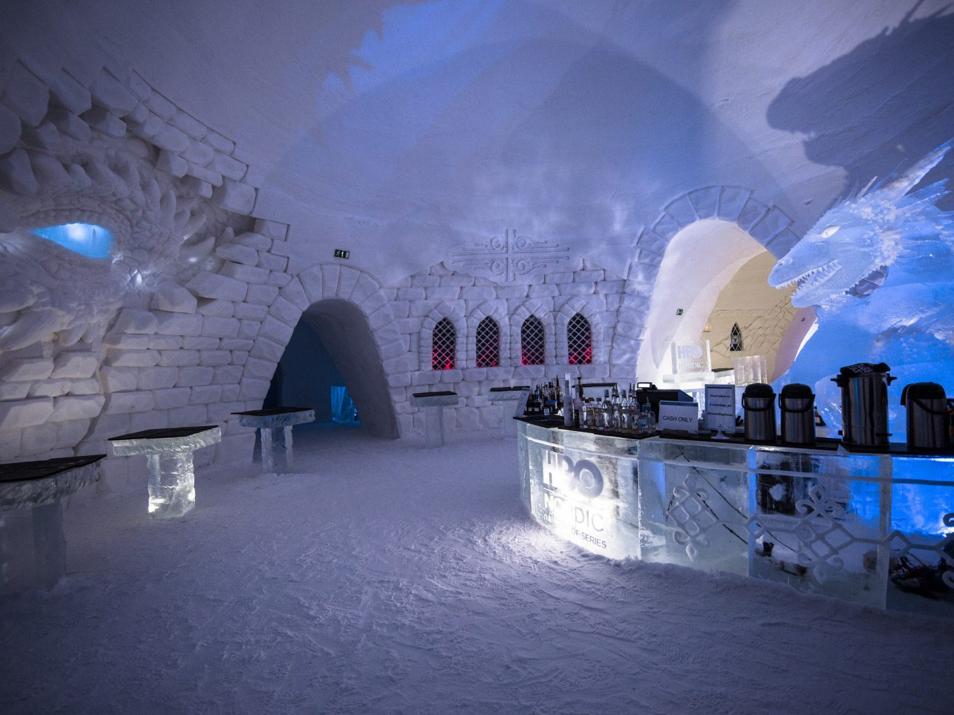 News Offbeat Trip Ideas blue ice Architecture freezing arctic building ice hotel tourist attraction Winter snow sky