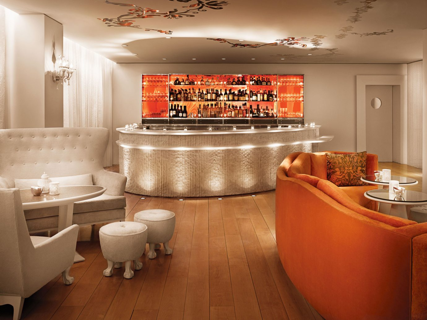 Bar Boutique City Drink Hotels Lobby Lounge indoor ceiling wall floor room orange home interior design living room Kitchen restaurant Design cabinetry window covering furniture