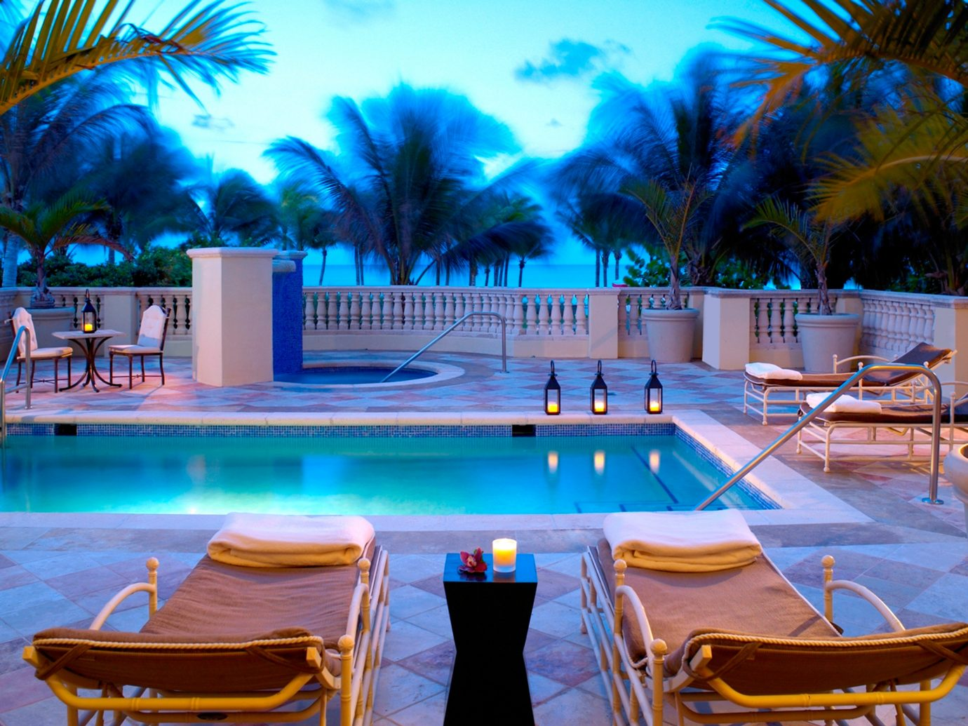 City Hotels Lounge Luxury Miami Miami Beach Outdoors Patio Pool Romance Romantic Waterfront tree leisure swimming pool chair Resort vacation estate caribbean Villa palm