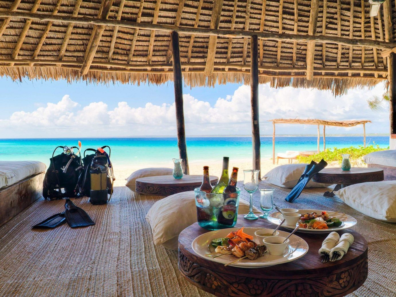 beach front lunch spread at andBeyond Mnemba Island, Zanzibar