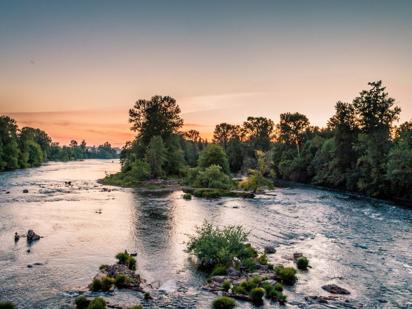 Trip Ideas tree outdoor water sky Nature River body of water natural environment reflection shore morning vacation landscape Lake Sea Sunset evening dusk setting surrounded wooded