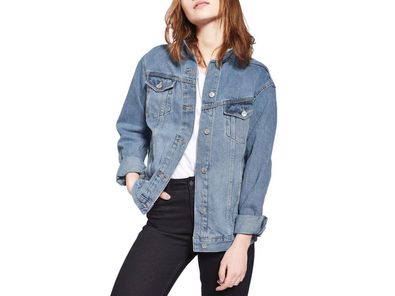 Style + Design Travel Shop person clothing denim jacket wearing jeans sleeve coat trousers posing trouser