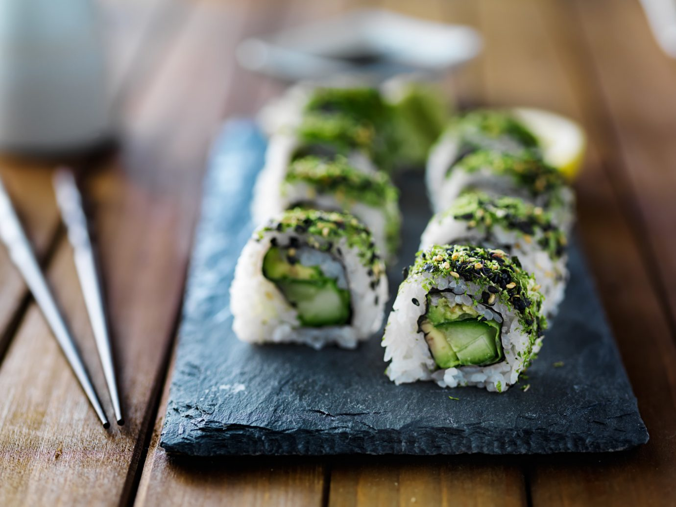 Trip Ideas dish food sushi indoor wooden cuisine piece produce gimbap asian food vegetable meal california roll chocolate slice dessert close square