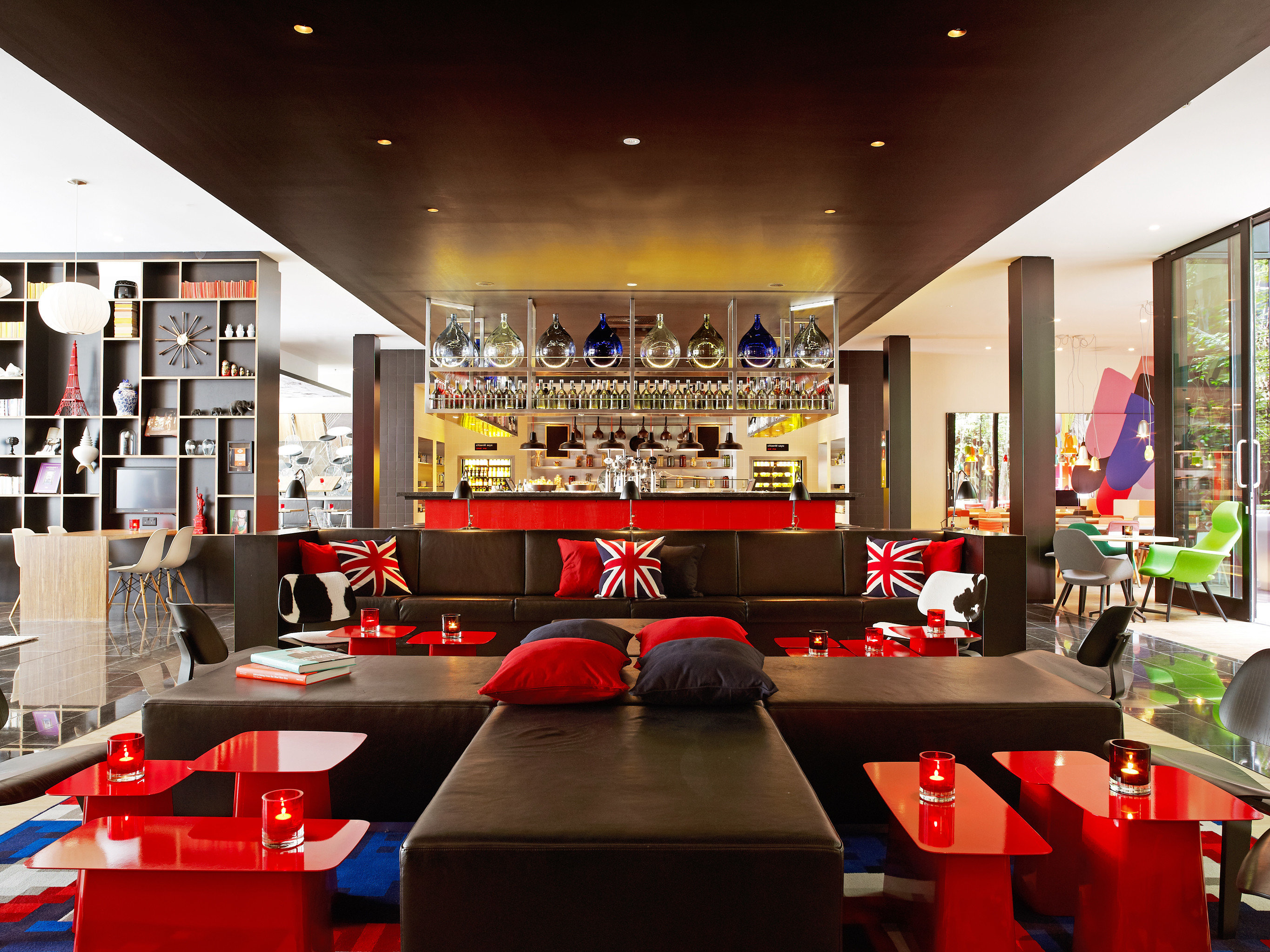 Budget Hotels London ceiling indoor table window room restaurant interior design Design Bar area office several