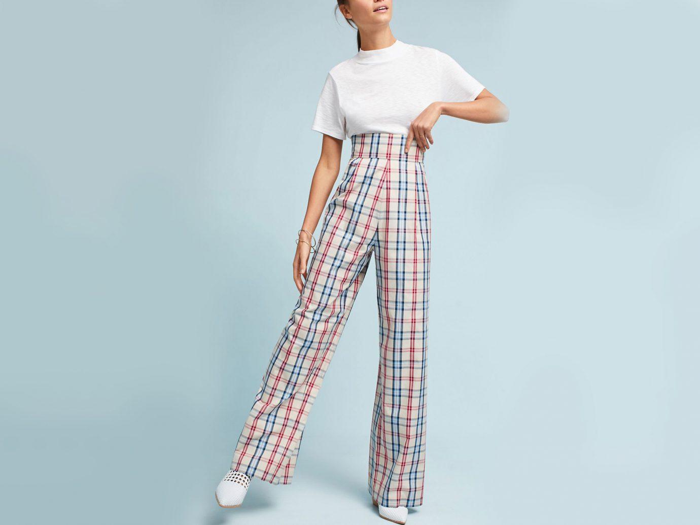 Travel Shop Travel Trends clothing person tartan plaid shoulder joint trunk Design waist fashion model abdomen neck trousers trouser pattern