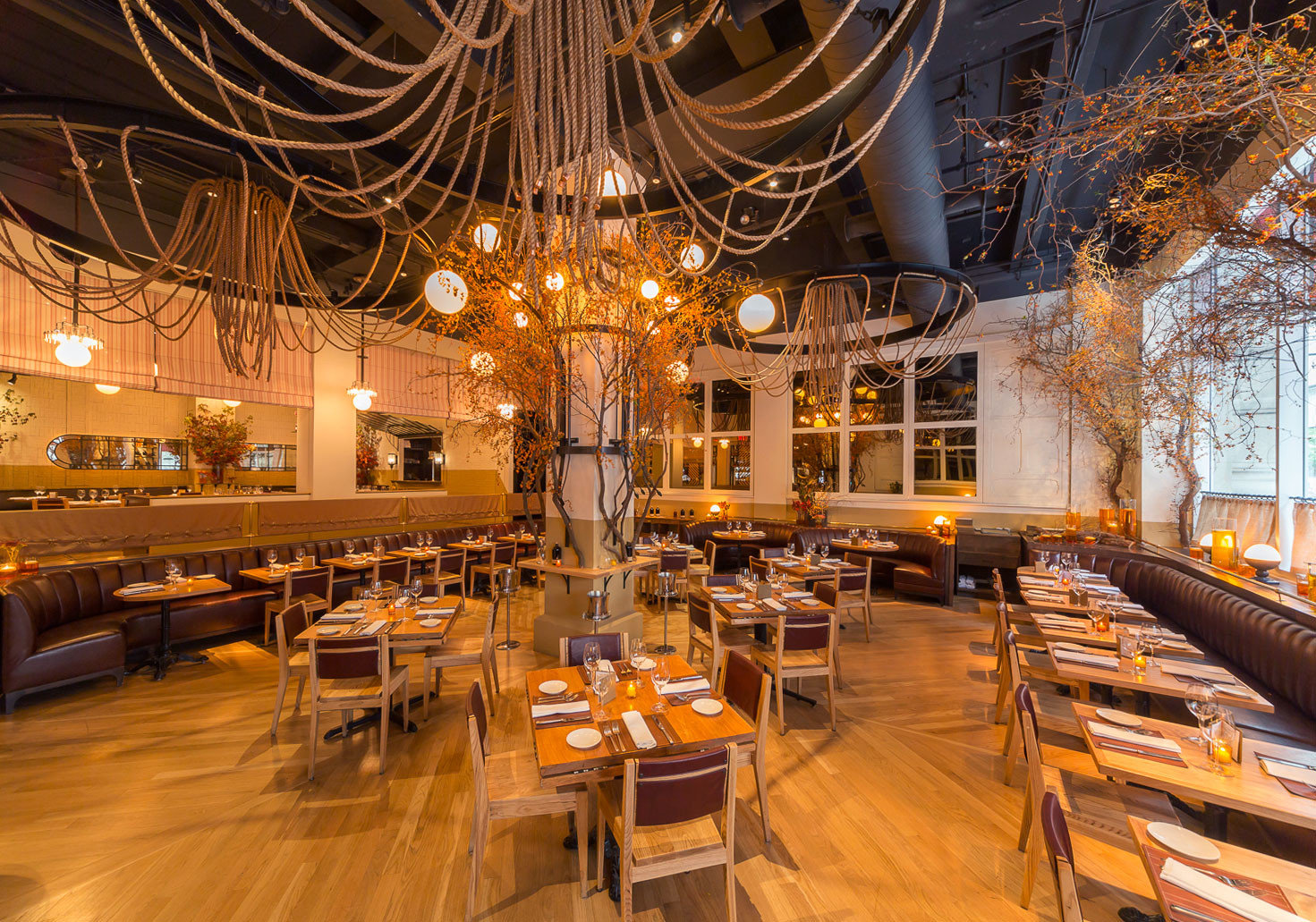 ambient lighting charming cozy Dining Elegant extravagant fancy interior lights Offbeat regal restaurant sophisticated Style + Design stylish tables function hall meal estate interior design Lobby ballroom