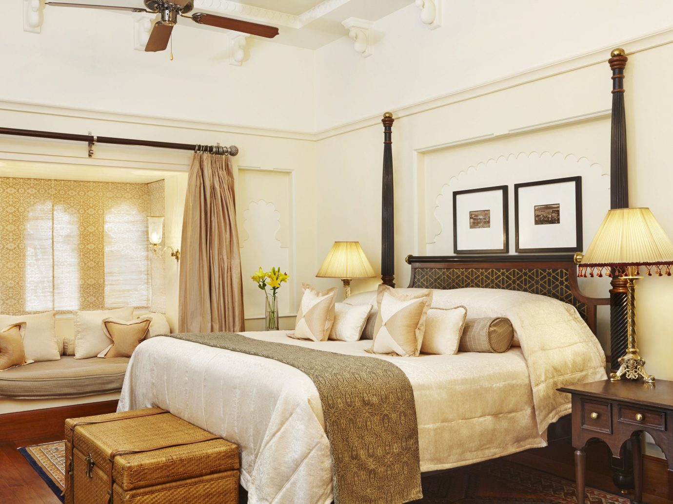 Hotels Luxury Travel indoor sofa room Suite interior design Bedroom ceiling bed frame real estate estate home furniture interior designer bed living room decorated