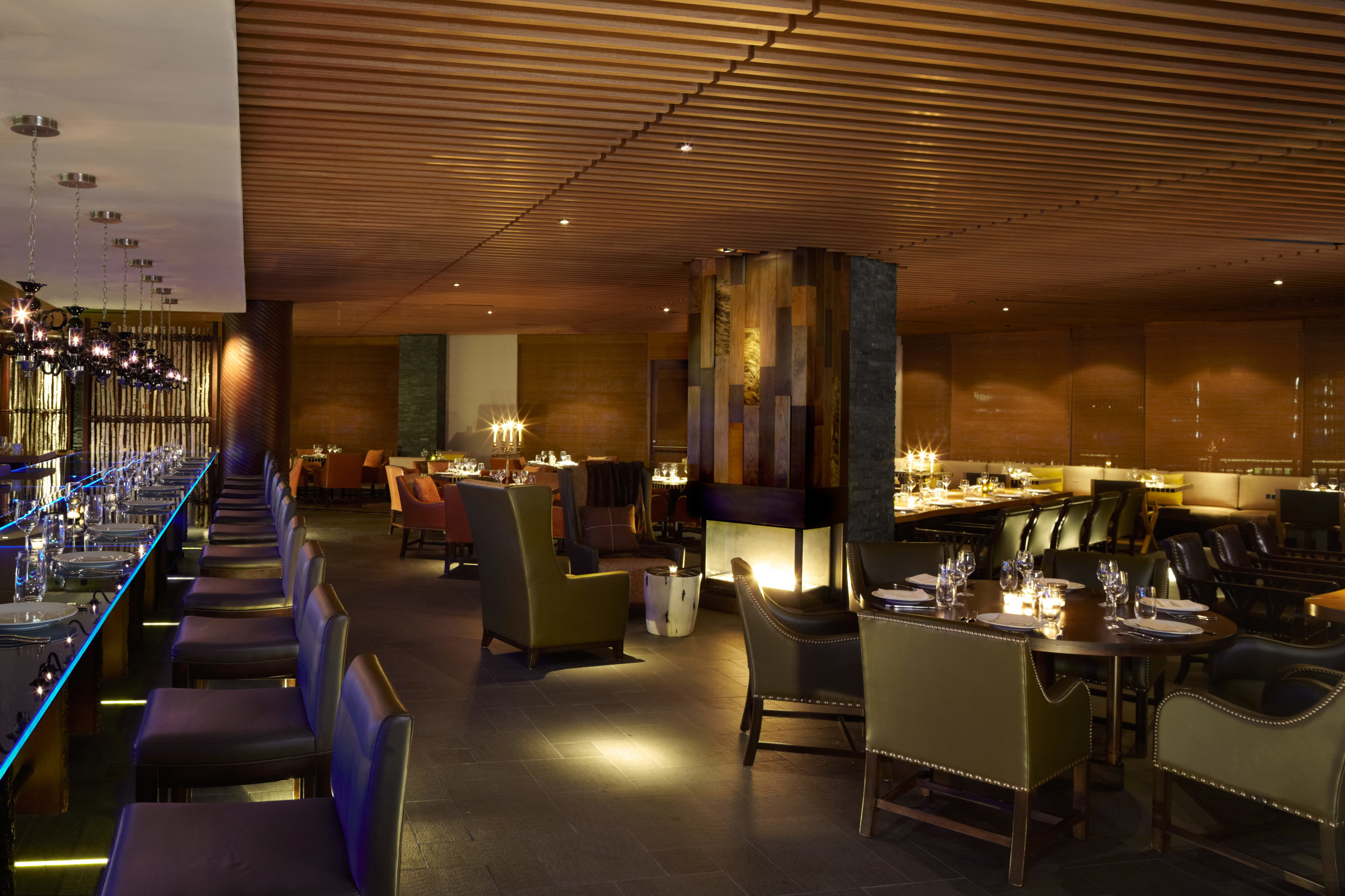 Dining Drink Eat Hotels Luxury Luxury Travel Mountains + Skiing indoor floor ceiling Lobby restaurant function hall interior design lighting convention center meal Bar