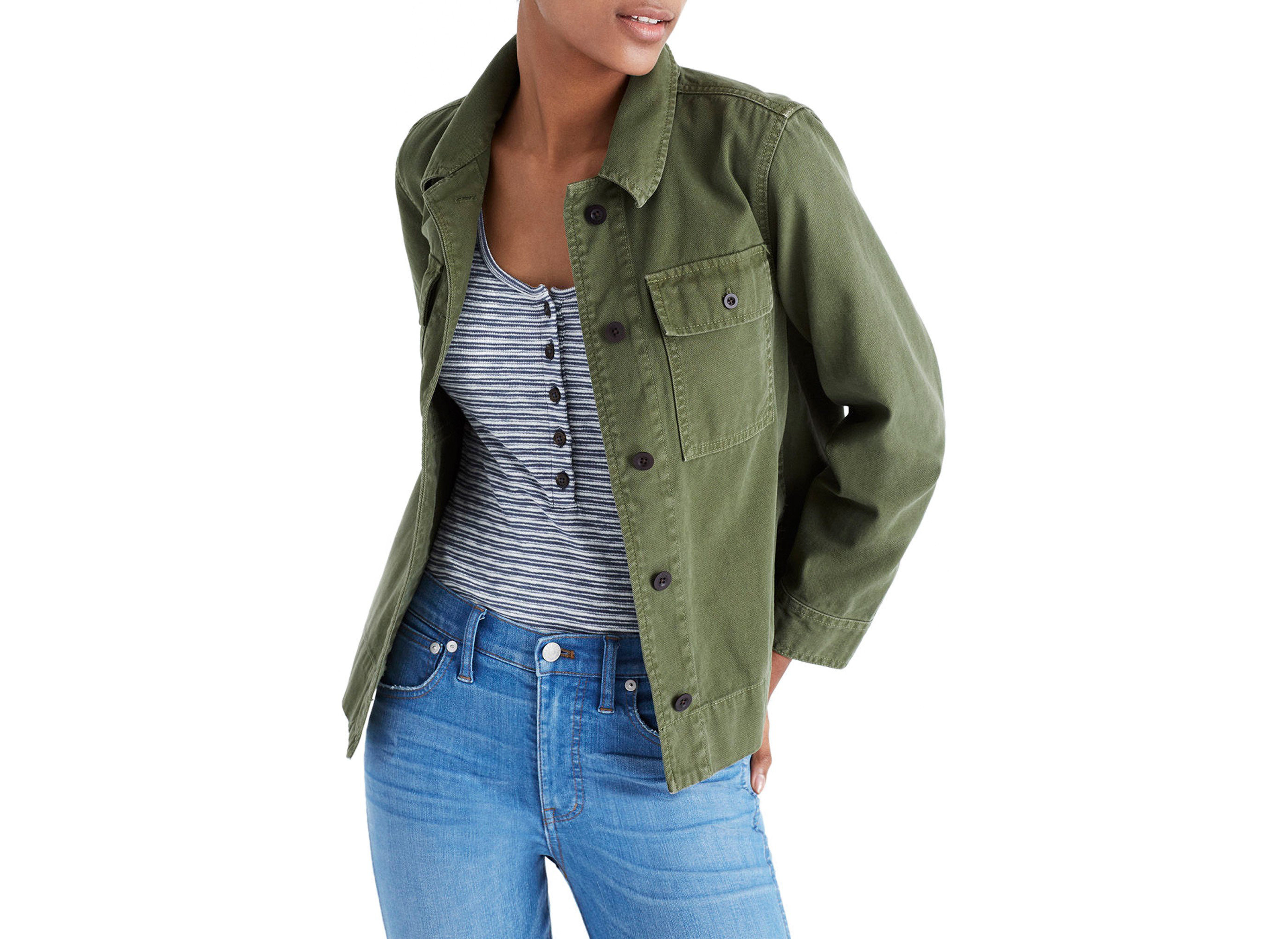 Style + Design person jacket wearing smiling posing green sleeve product jeans