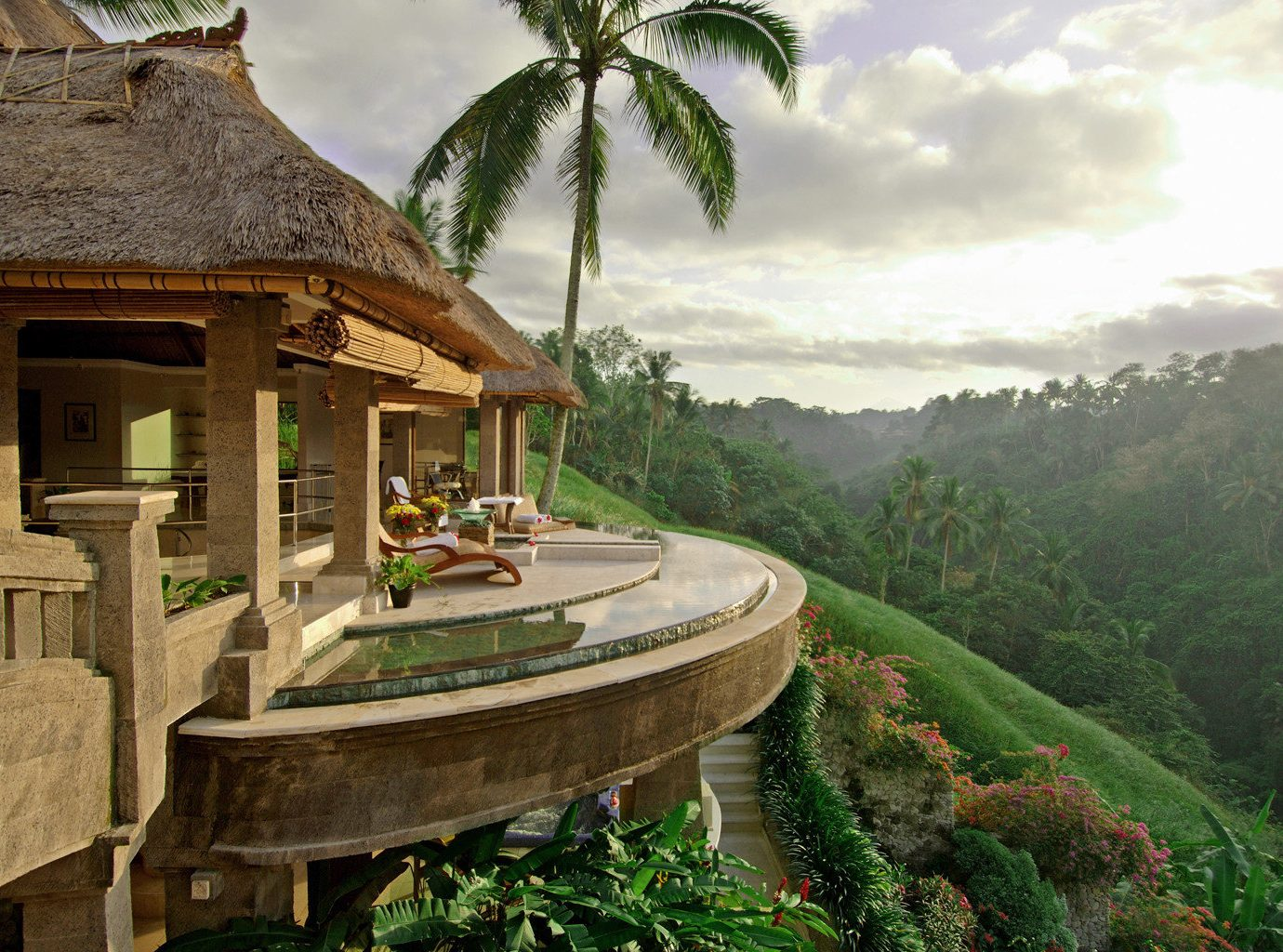 Elegant Hotels Luxury Pool Tropical outdoor estate vacation Resort Jungle mansion stone