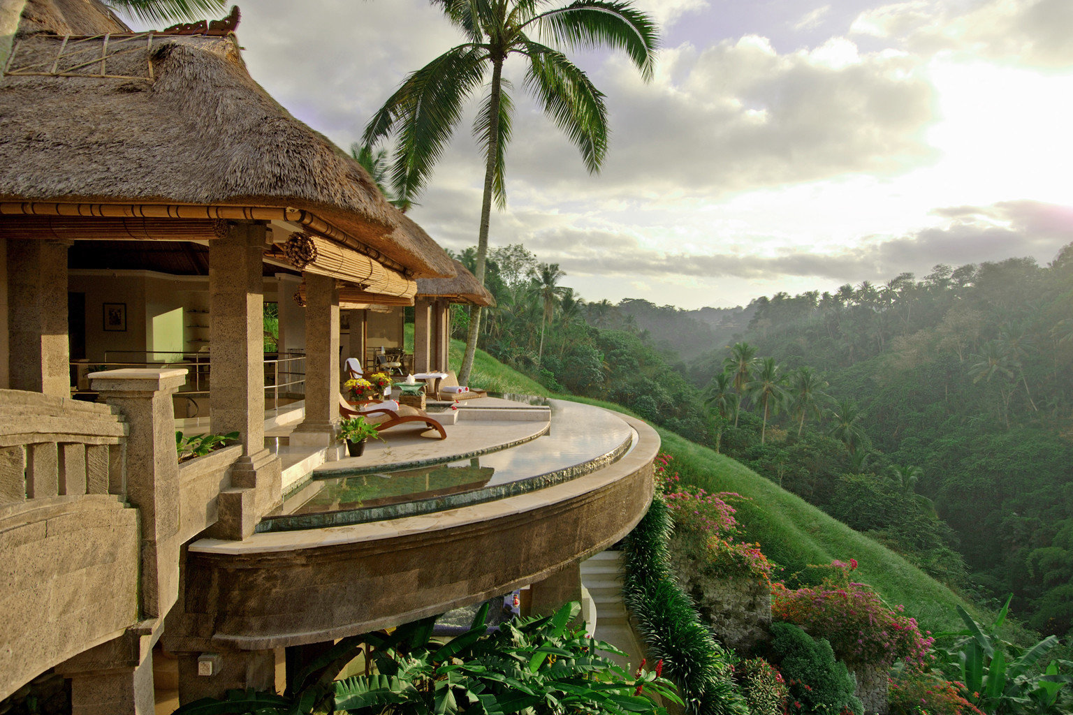 Elegant Hotels Luxury Pool Tropical outdoor estate vacation Resort Jungle mansion stone