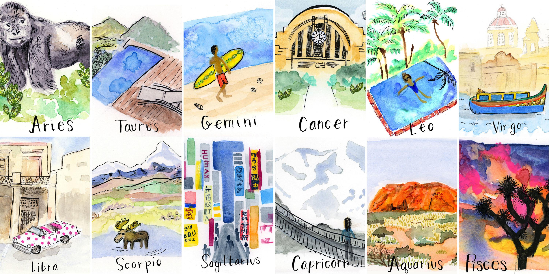 Trip Ideas different cartoon art collage illustration items several variety