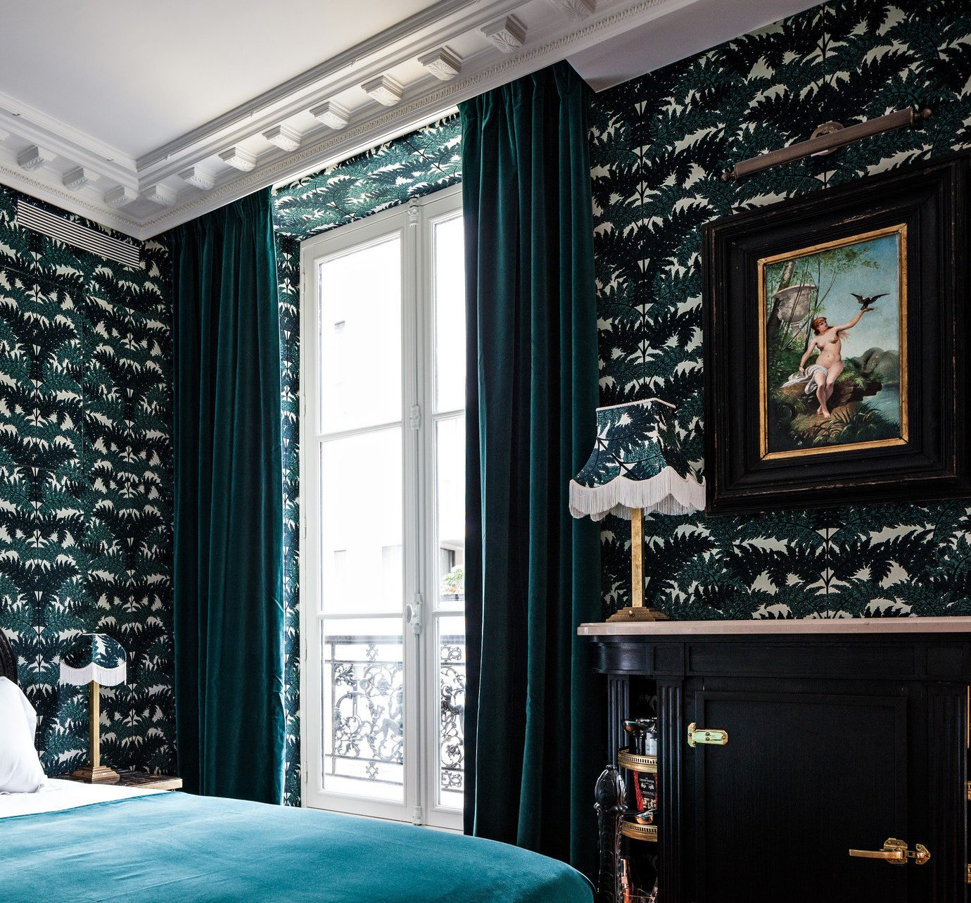 artsy bed Bedroom Boutique Boutique Hotels chic contrasty dim Hip Hotels  Luxury trendy wallpaper indoor room d5867f0bcbf