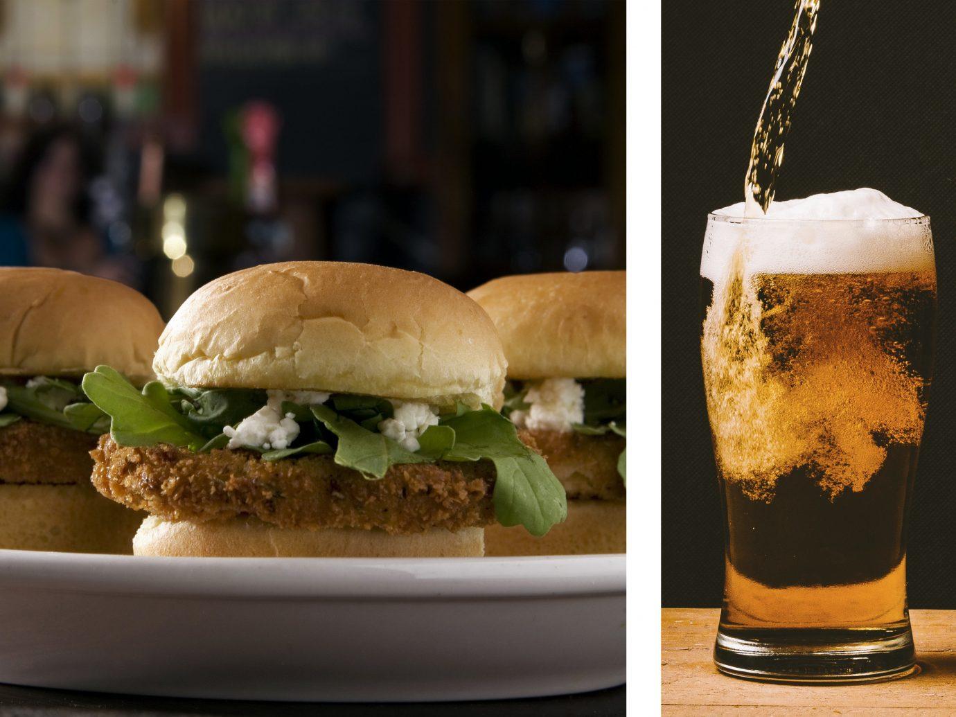 Food + Drink table food plate snack food sandwich dish restaurant hamburger sense fast food