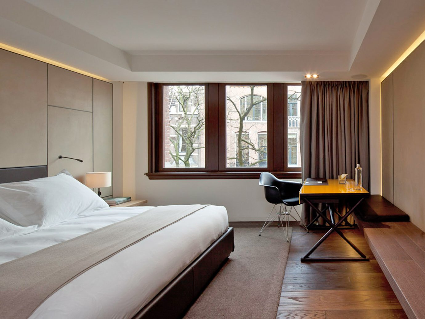 Amsterdam Bedroom Boutique Hip Hotels Modern The Netherlands bed indoor wall floor ceiling window hotel room property Suite estate interior design real estate hardwood home condominium Design living room cottage apartment