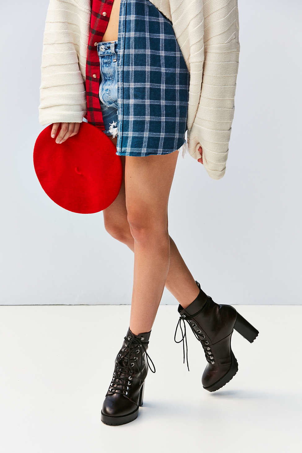 Fall Travel Style + Design Travel Shop person footwear shoe joint fashion model wearing tartan leg human leg fashion plaid pattern Design thigh waist miniskirt knee girl dressed