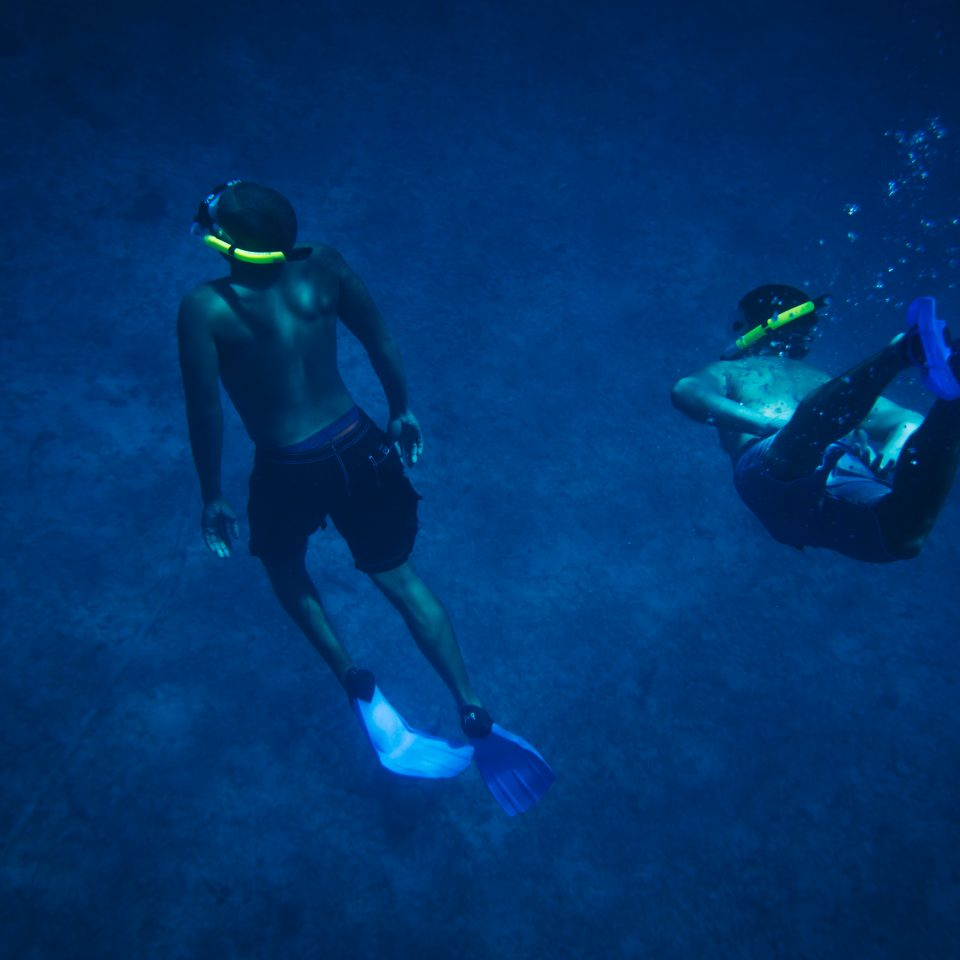 two people scuba diving in dark blue water