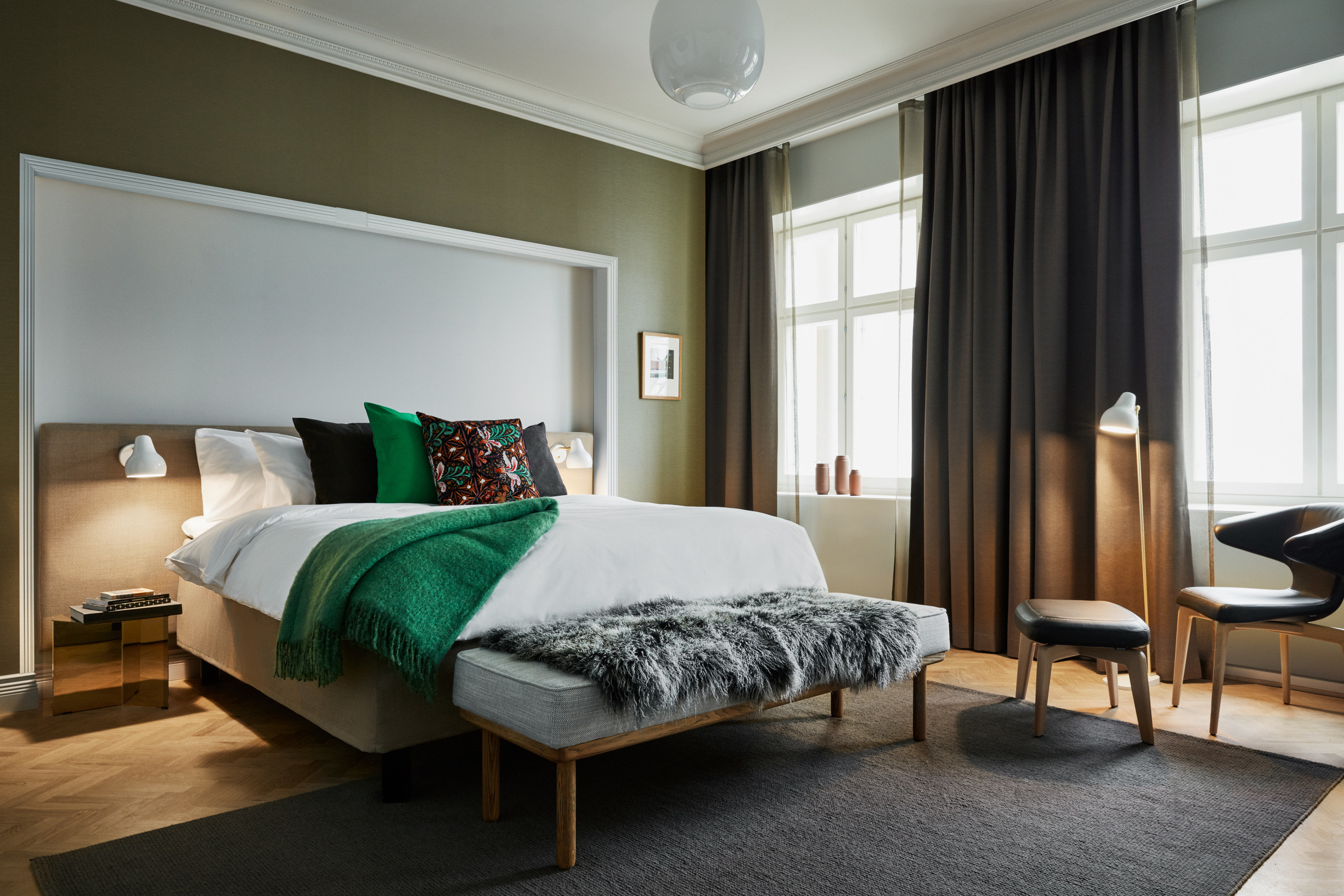 Design Hotels indoor floor wall room window hotel chair bed frame bed interior design Bedroom ceiling Suite furniture green home nice interior designer bed sheet mattress window covering area decorated