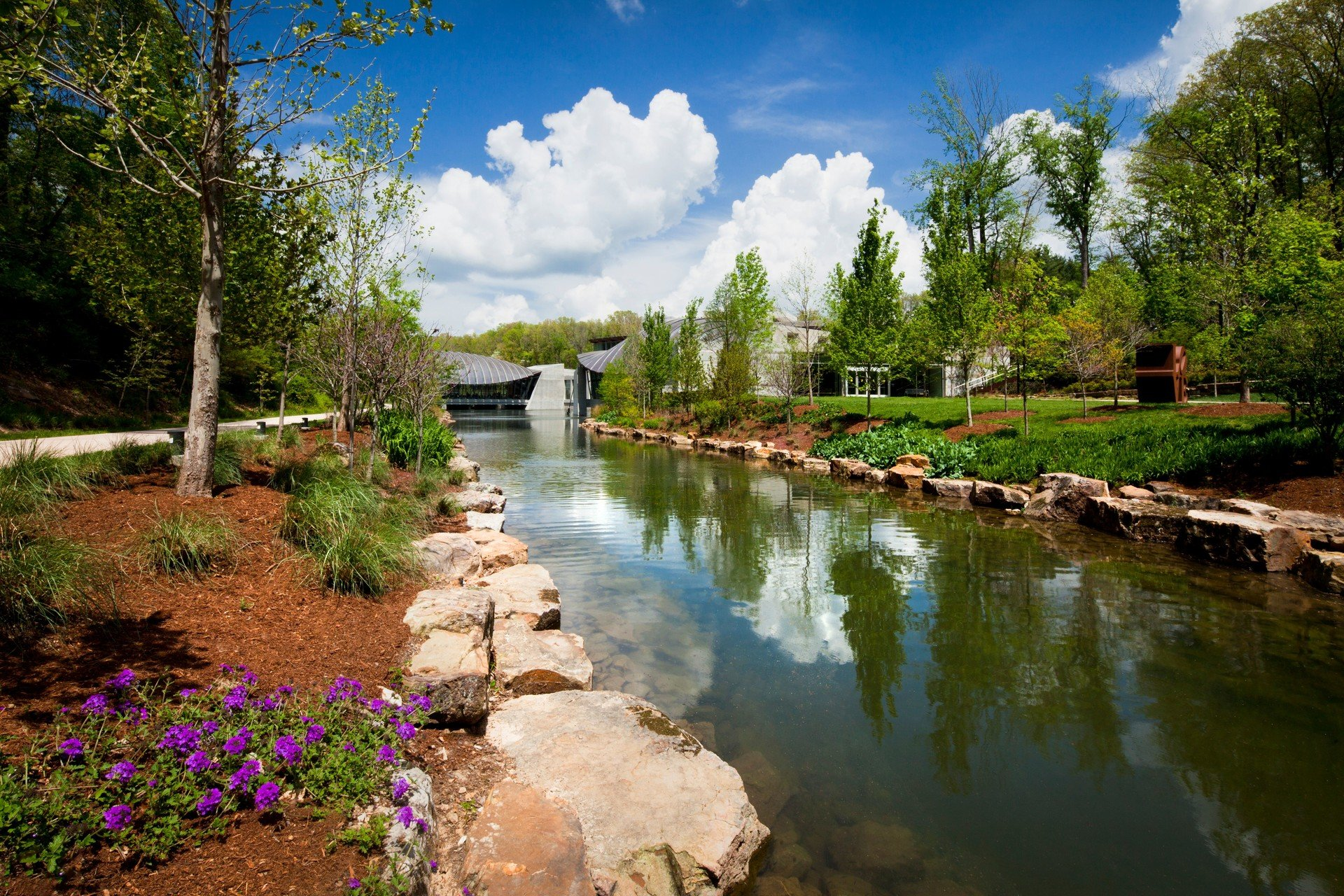 Trip Ideas tree outdoor water sky grass Nature River landform body of water geographical feature reflection house stream waterway Lake flower pond landscape rural area autumn Canal surrounded Garden valley reservoir park bushes stone