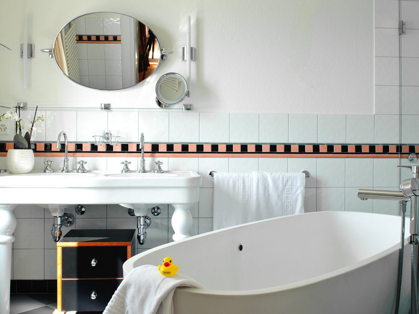 Hotels wall indoor room property bathroom floor home interior design sink Design vessel apartment cottage bathtub tub Bath tiled