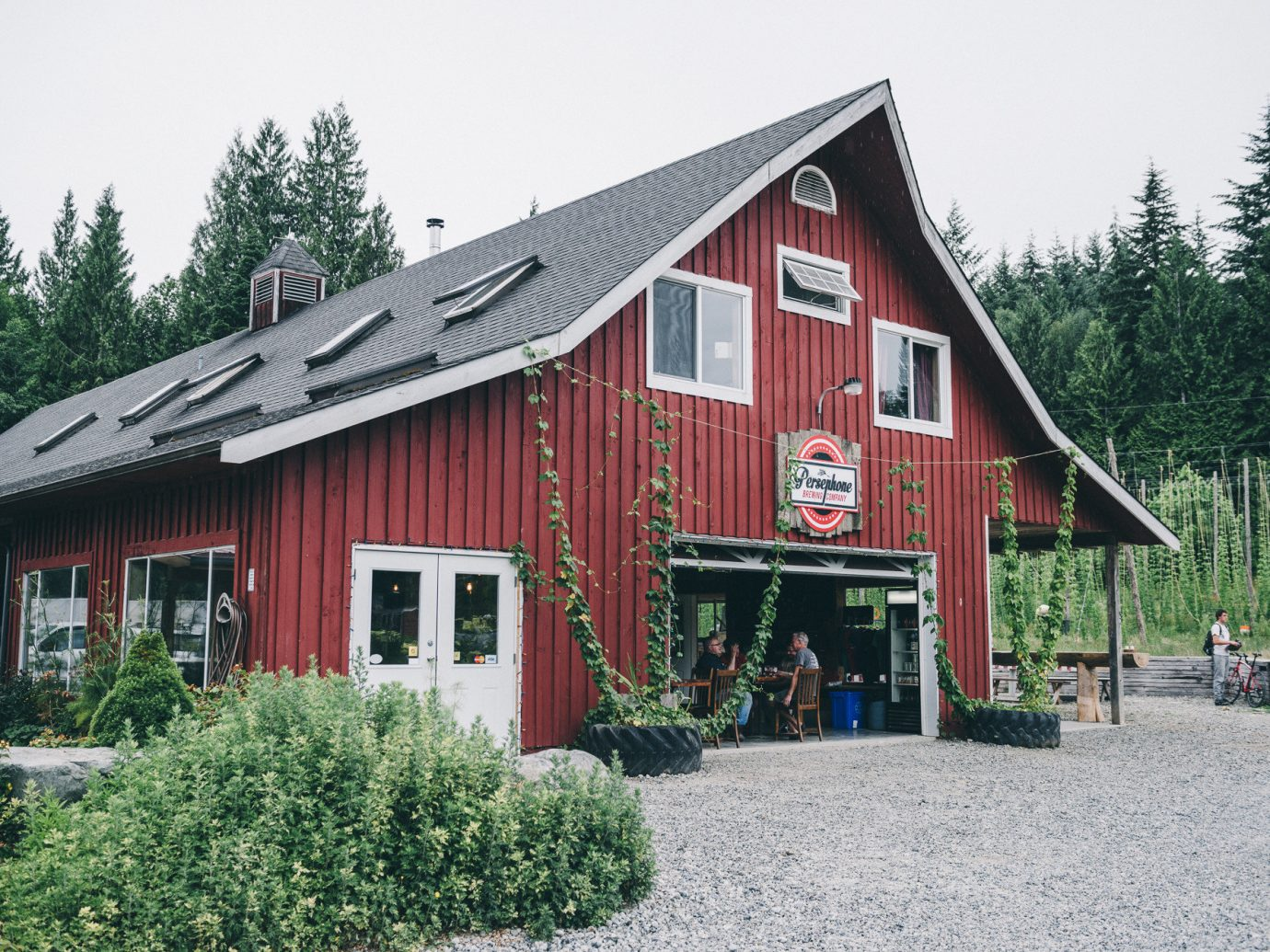 Food + Drink tree sky outdoor building house barn home red cottage Farm rural area hut shack Town residential