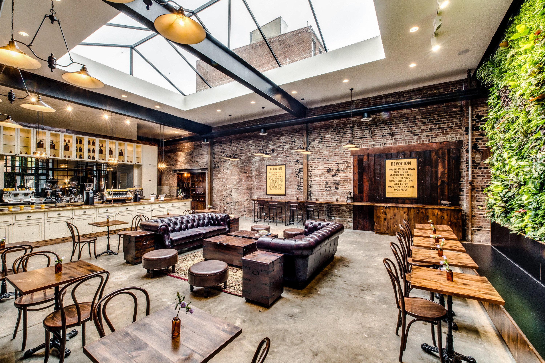 Brooklyn City Food + Drink NYC interior design real estate Lobby café restaurant loft furniture several dining room
