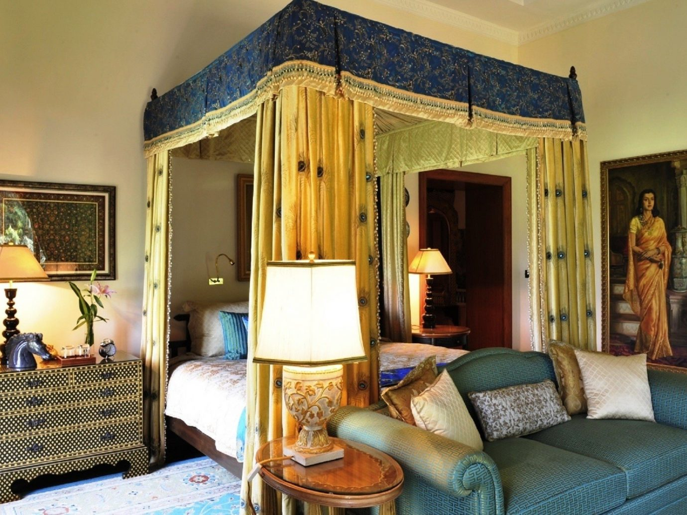Hotels Luxury Travel Living indoor room wall sofa Bedroom interior design Suite estate home real estate furniture window treatment ceiling bed living room hotel window four poster house decorated area