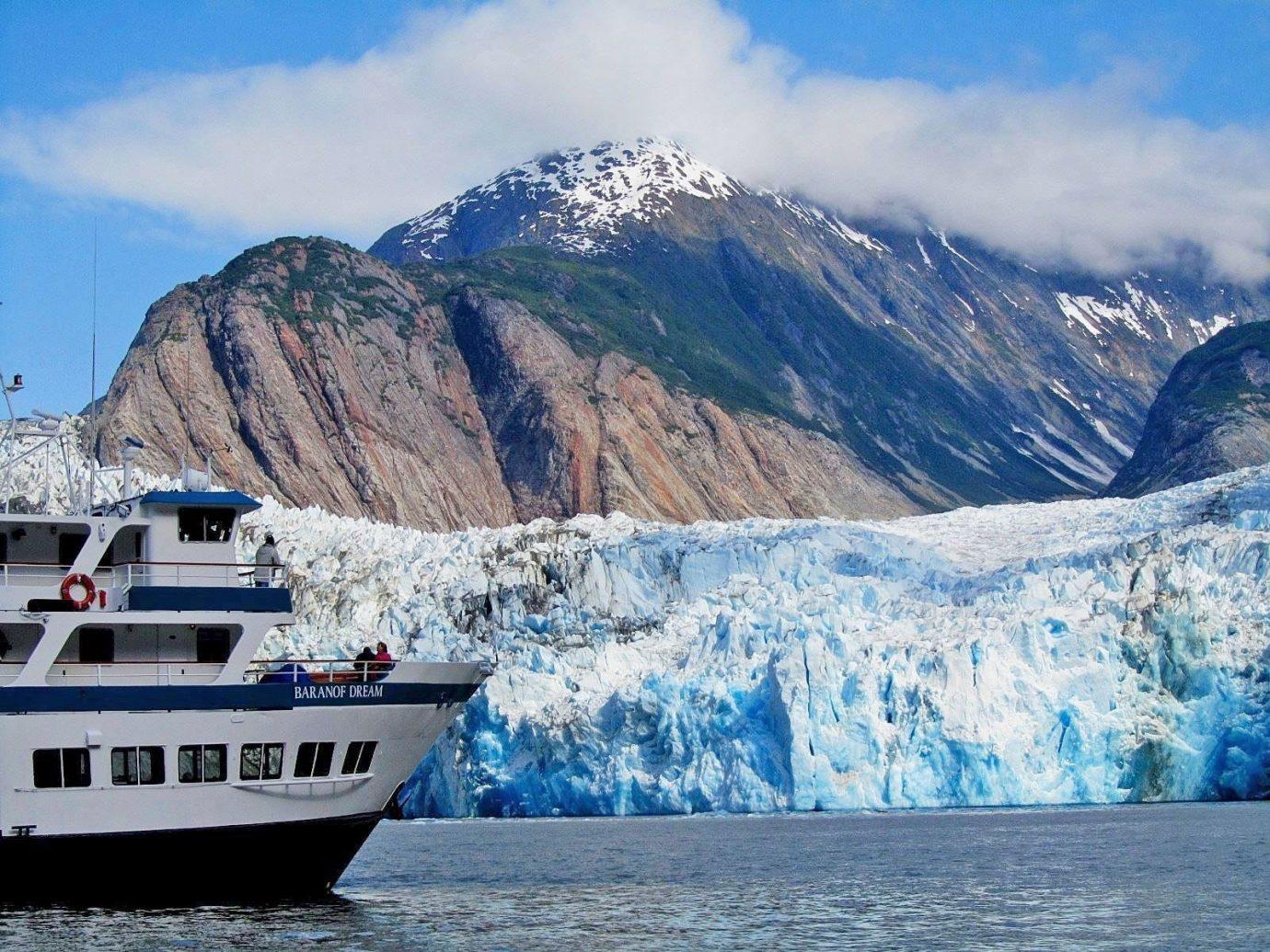 Trip Ideas mountain outdoor sky geographical feature landform Boat glacier vehicle fjord mountain range glacial landform Sea arctic arctic ocean Lake