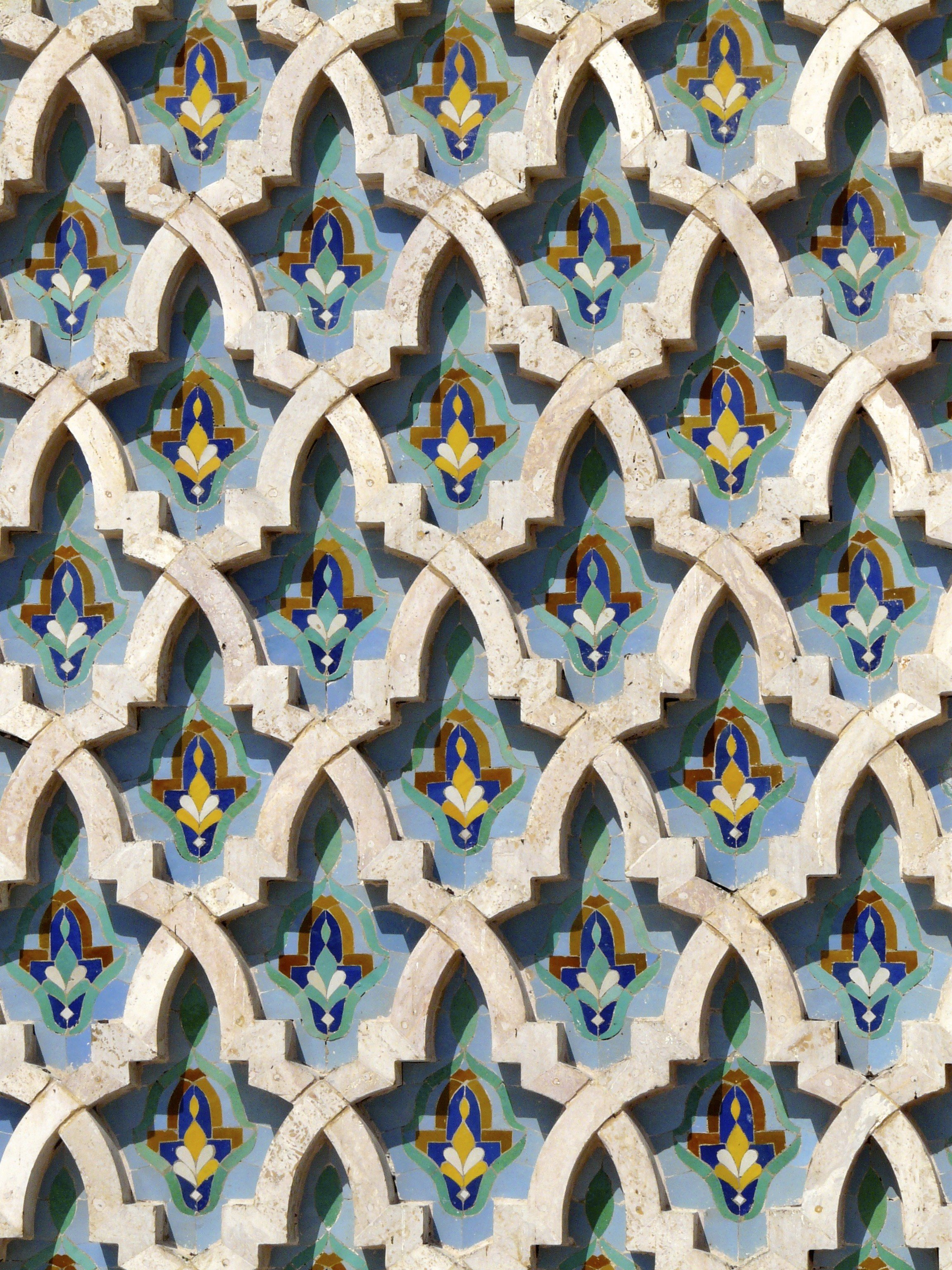 Offbeat blue decorated building pattern art Design circle textile symmetry window material decorative stone