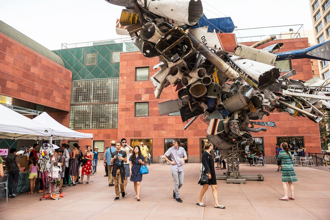 activities art Arts + Culture attraction Buildings City Courtyard exhibit Exterior foyer industrial Museums Offbeat people sculpture stand building ground outdoor vehicle aircraft air force aviation military