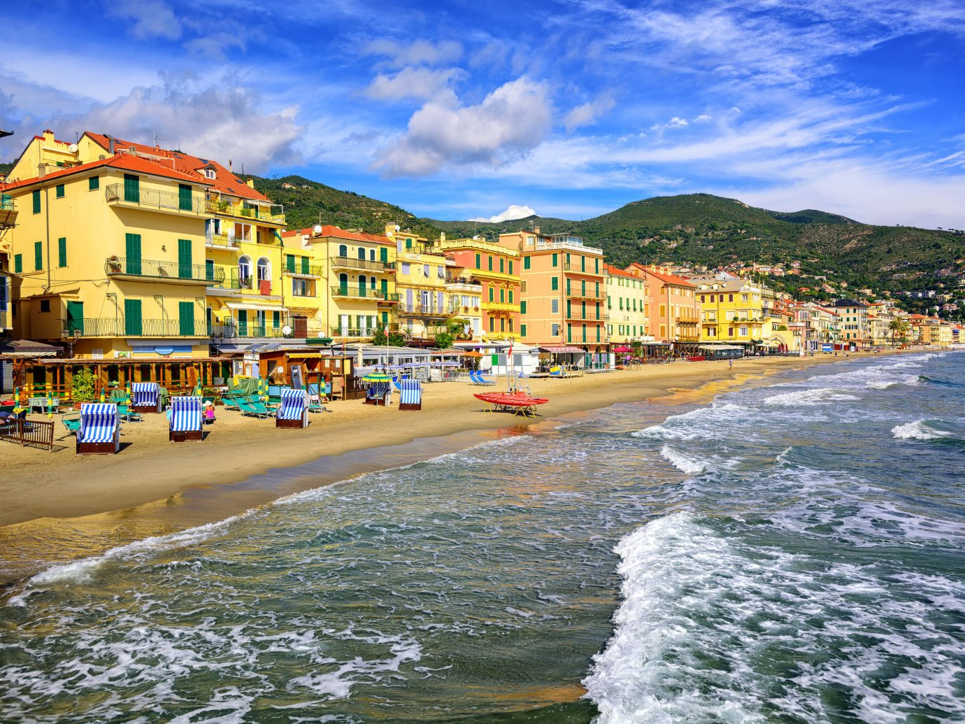 Italy Trip Ideas sky Sea Coast body of water water Town shore Beach coastal and oceanic landforms City Ocean tourism wave bay terrain cloud vacation evening travel house landscape sand mountain horizon