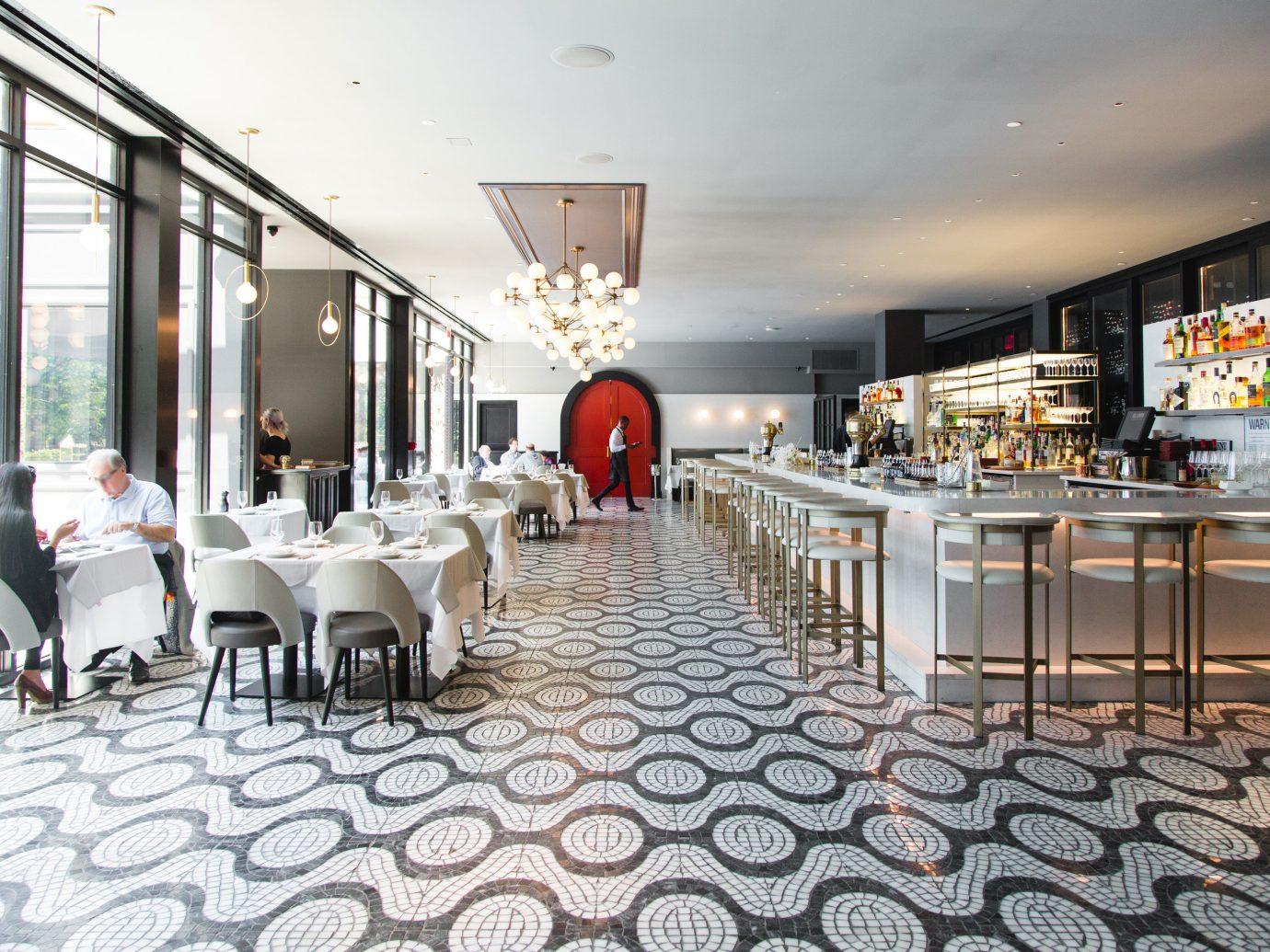 Food + Drink indoor restaurant Lobby ceiling interior design meal real estate estate Design area furniture several
