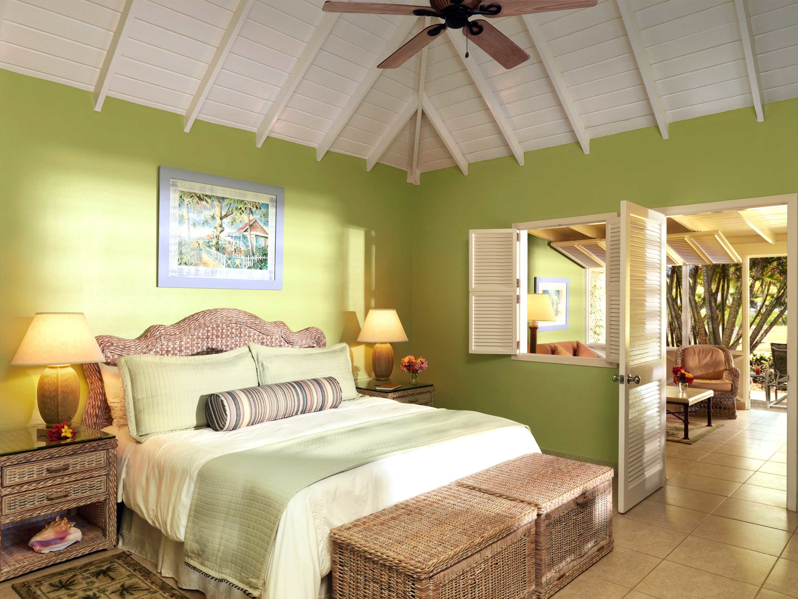 Balcony Beach Bedroom Hotels Islands Living Lounge Luxury Luxury Travel Suite Trip Ideas indoor floor wall room property ceiling estate bed home interior design cottage real estate living room furniture farmhouse Villa Resort area