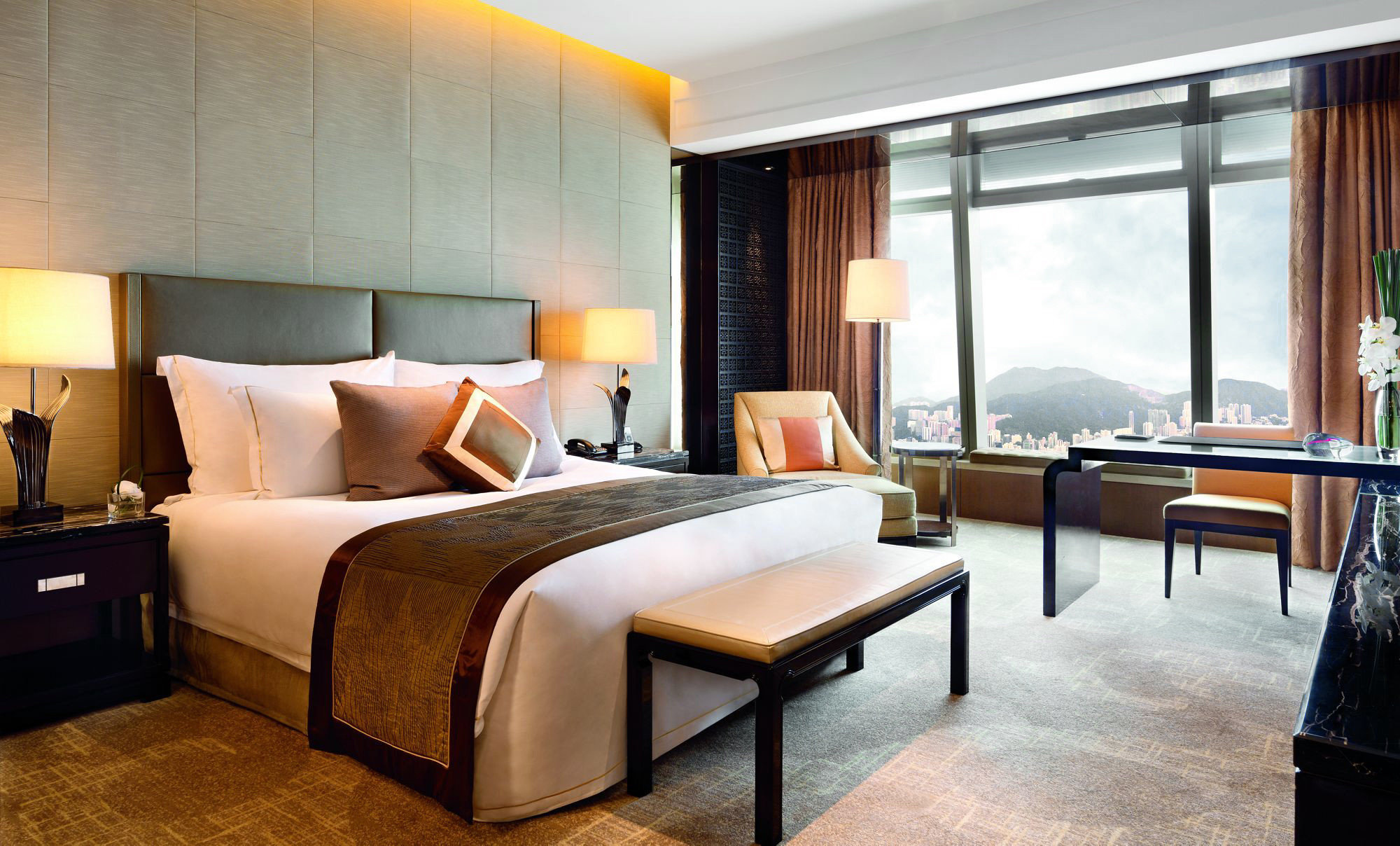 Hotels floor indoor wall room bed ceiling hotel property Bedroom window Suite condominium interior design estate real estate living room furniture Design Villa apartment