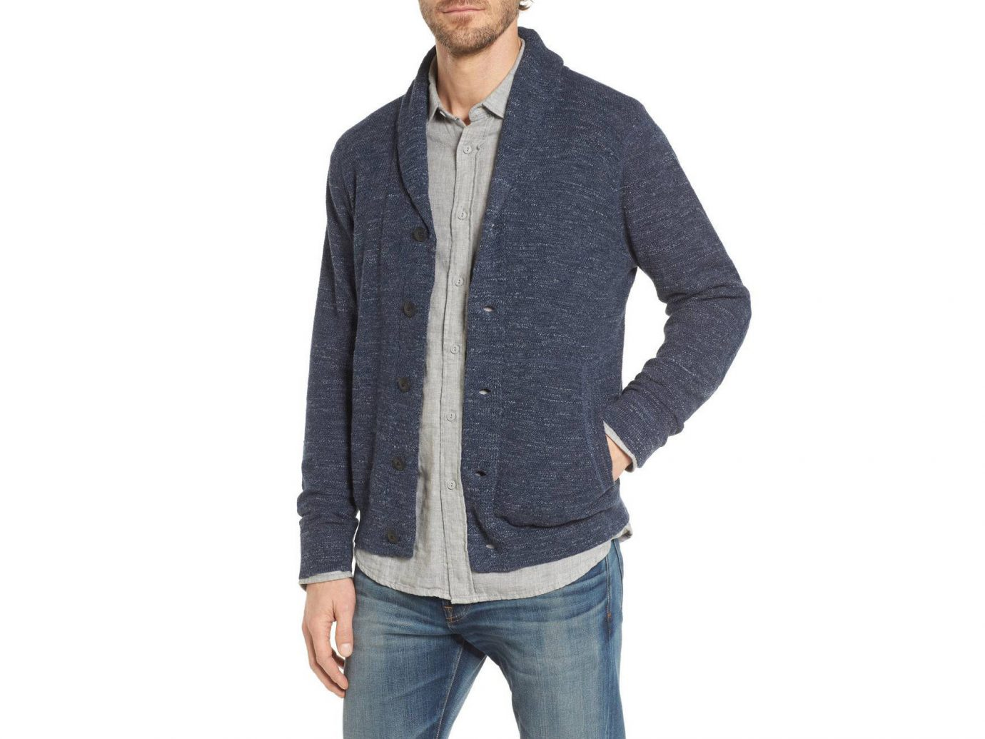 person man clothing standing cardigan sweater wearing woolen outerwear posing jacket sleeve neck jeans