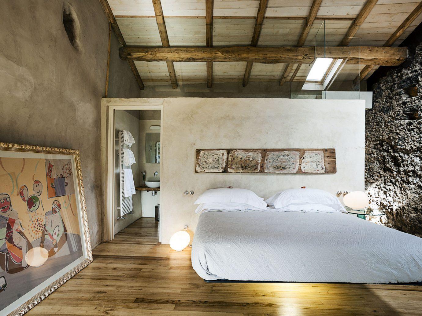 Trip Ideas indoor floor room Architecture interior design ceiling wall home bed wood house loft Bedroom daylighting furniture bed frame window flooring interior designer