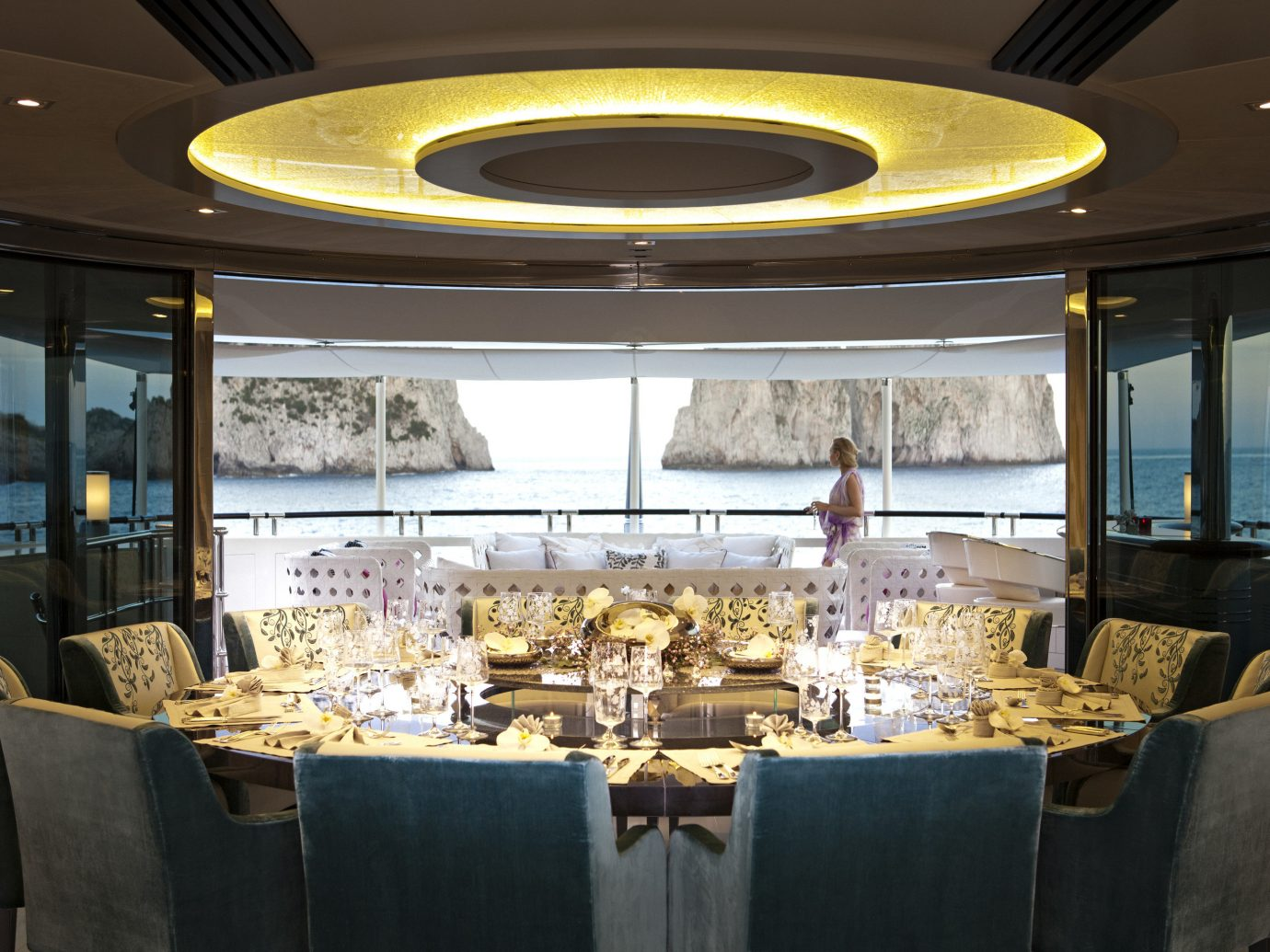 Luxury Travel Trip Ideas indoor Boat passenger ship ceiling vehicle window yacht luxury yacht room function hall interior design watercraft meal estate ship restaurant furniture