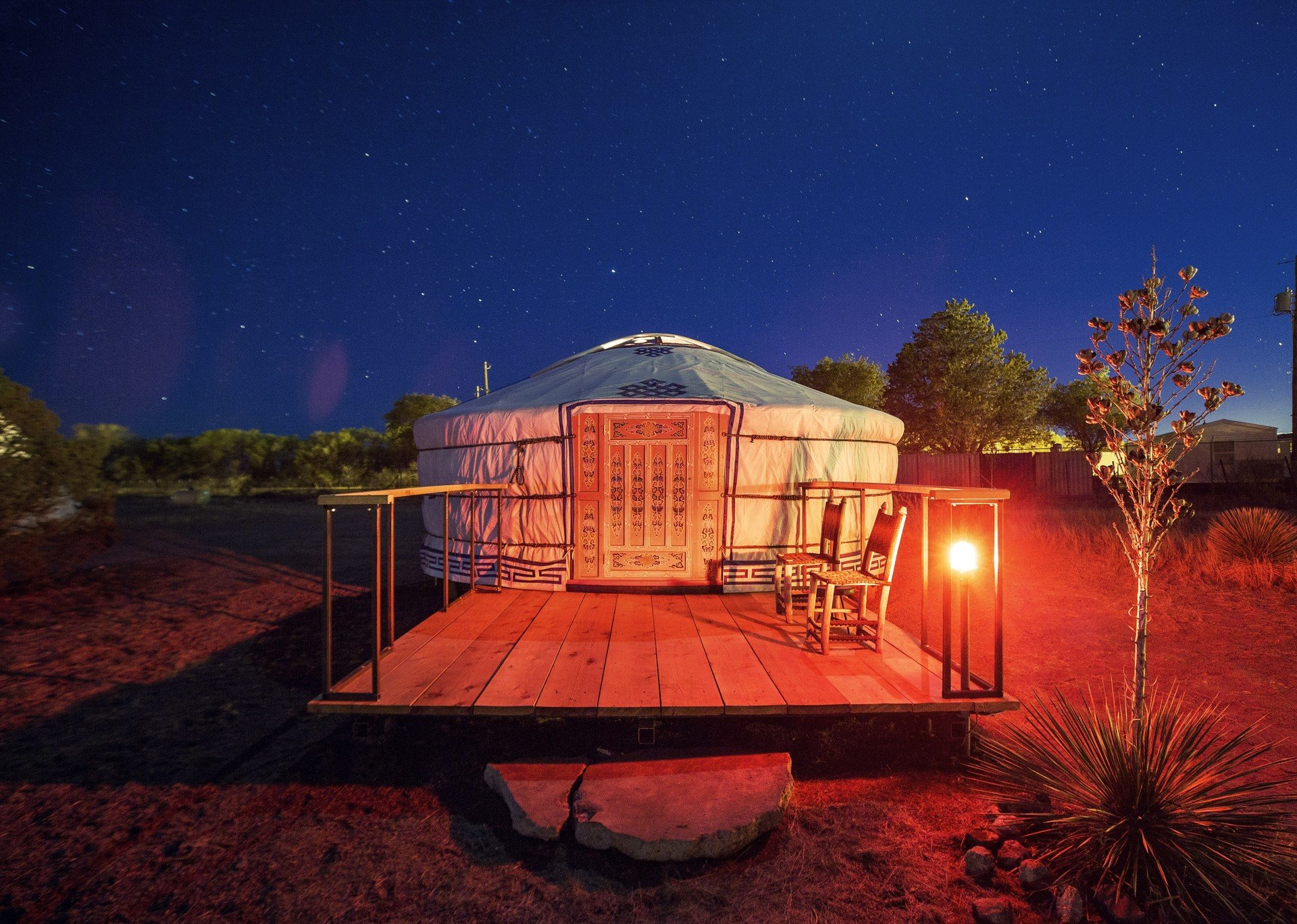 ambient lighting artistic artsy calm Exterior Glamping Hip isolation lounge chairs majestic night Night Sky Outdoors + Adventure Patio porch quirky remote serene stars tent tents Terrace trendy Weekend Getaways outdoor house building light evening estate lighting screenshot home landscape lighting theatre