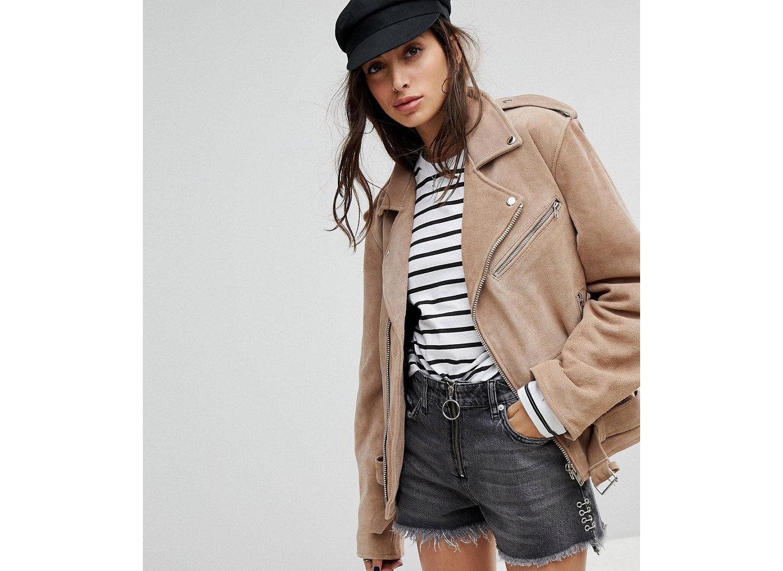 Travel Shop person woman fashion model jacket posing coat beige woolen dressed