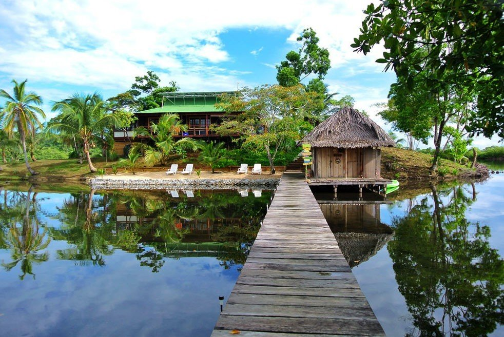 Beach tree outdoor water sky Lake house Resort Nature estate swimming pool River wooden Garden Jungle pond wood surrounded