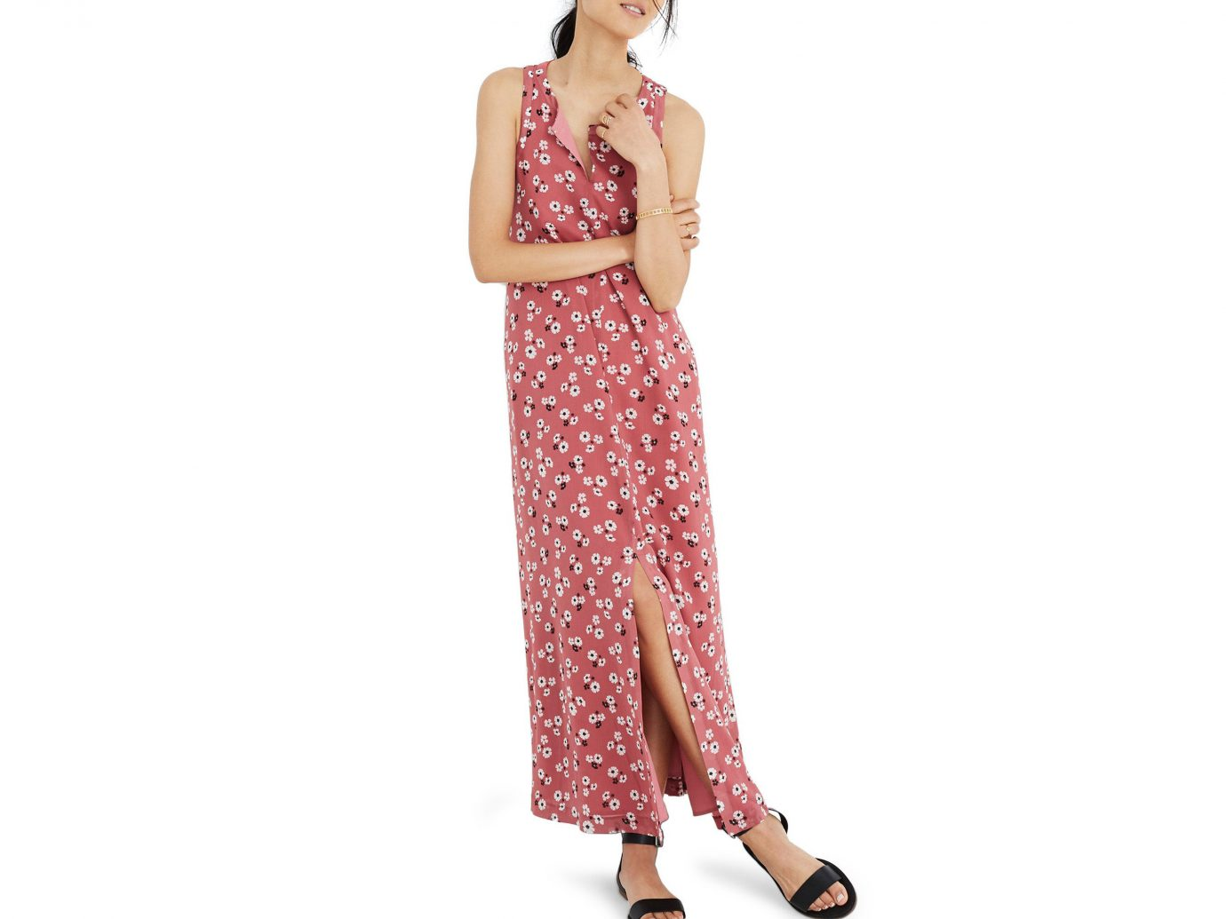 Style + Design Travel Shop clothing day dress dress fashion model shoulder girl neck waist peach pattern magenta joint trouser
