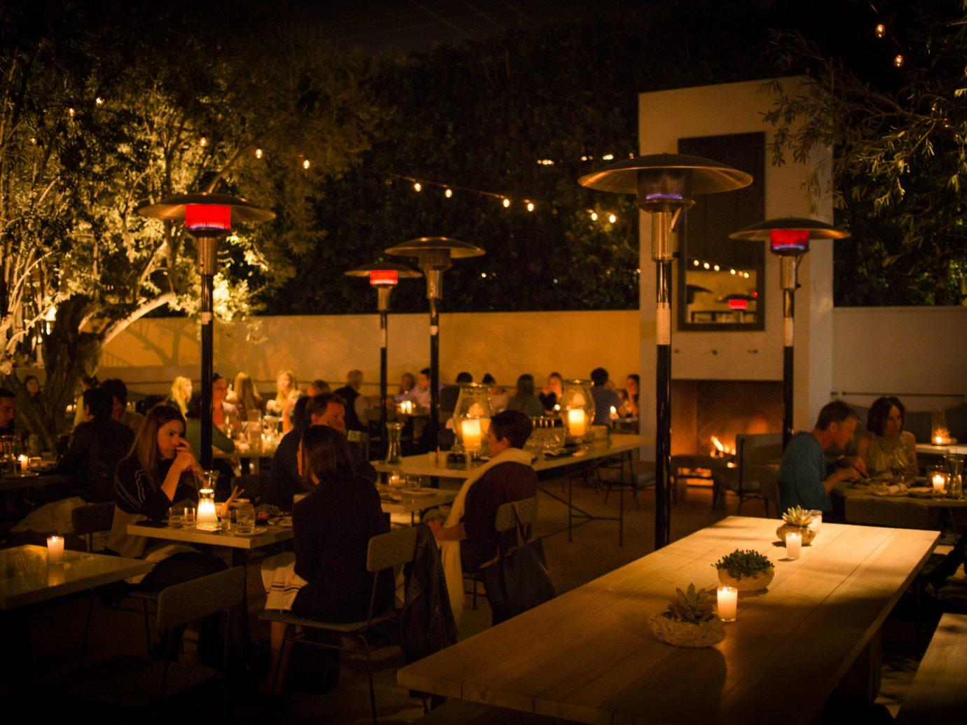 table outdoor night restaurant lighting Bar evening light dark several