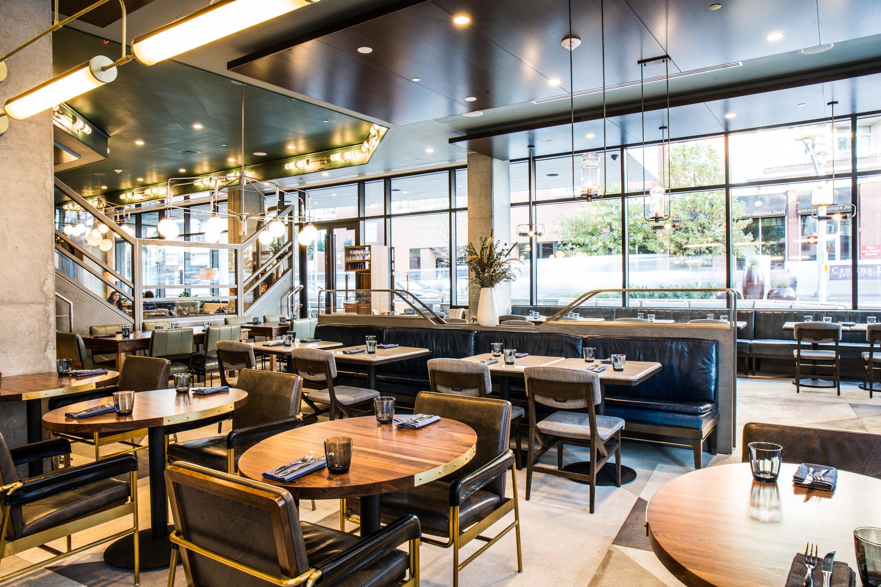 Food + Drink indoor floor restaurant room ceiling interior design café cafeteria furniture several