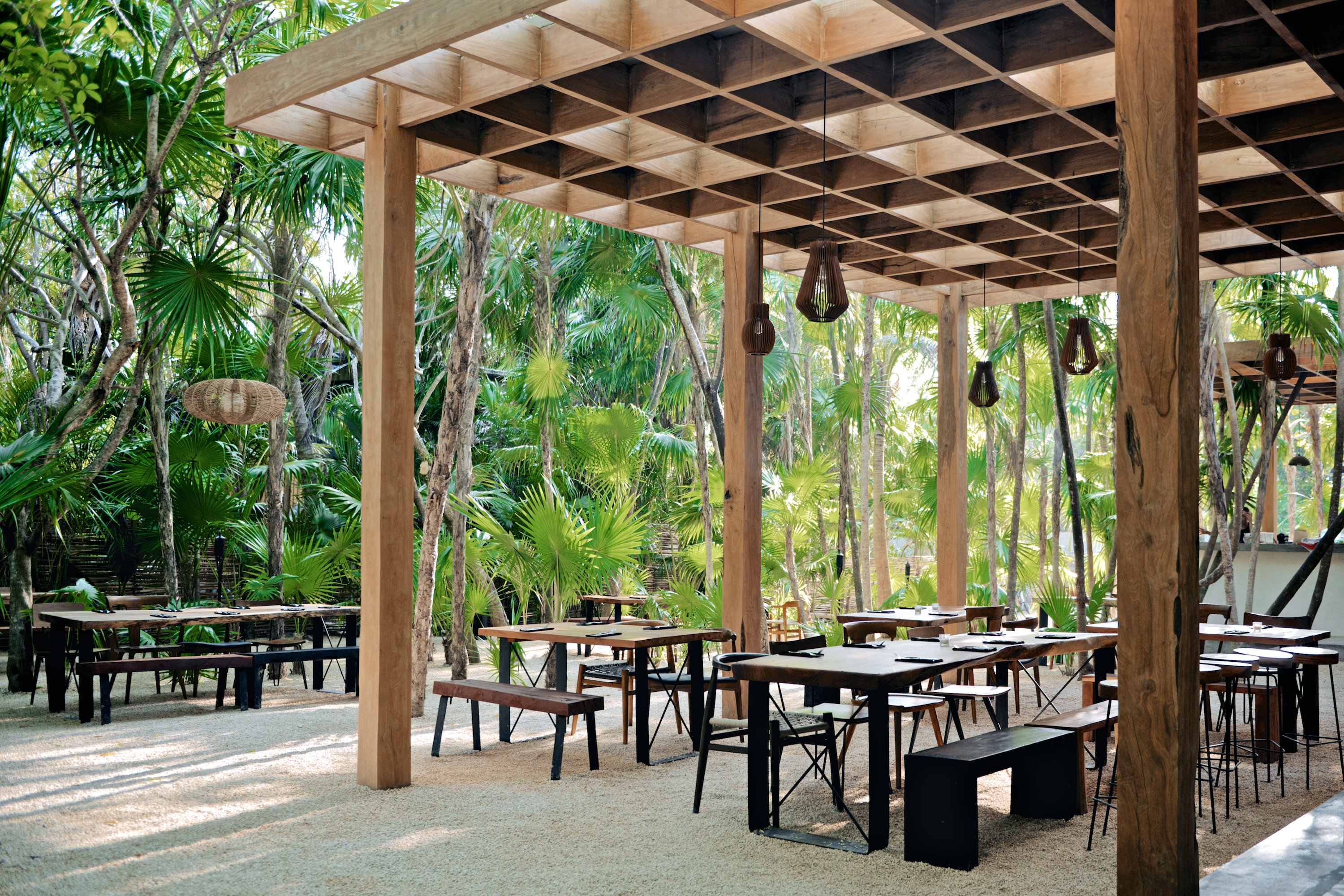 City Mexico Trip Ideas Tulum plant tree Resort outdoor structure pavilion table pergola Patio leisure arecales gazebo