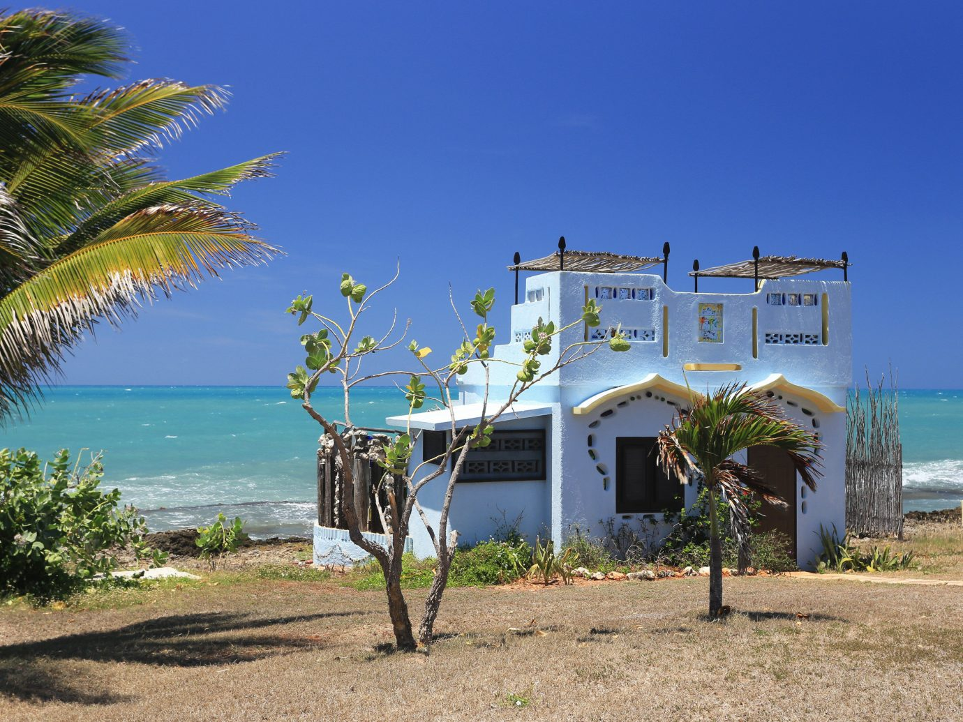 Exterior view of a ocean side cottage in Jamaica