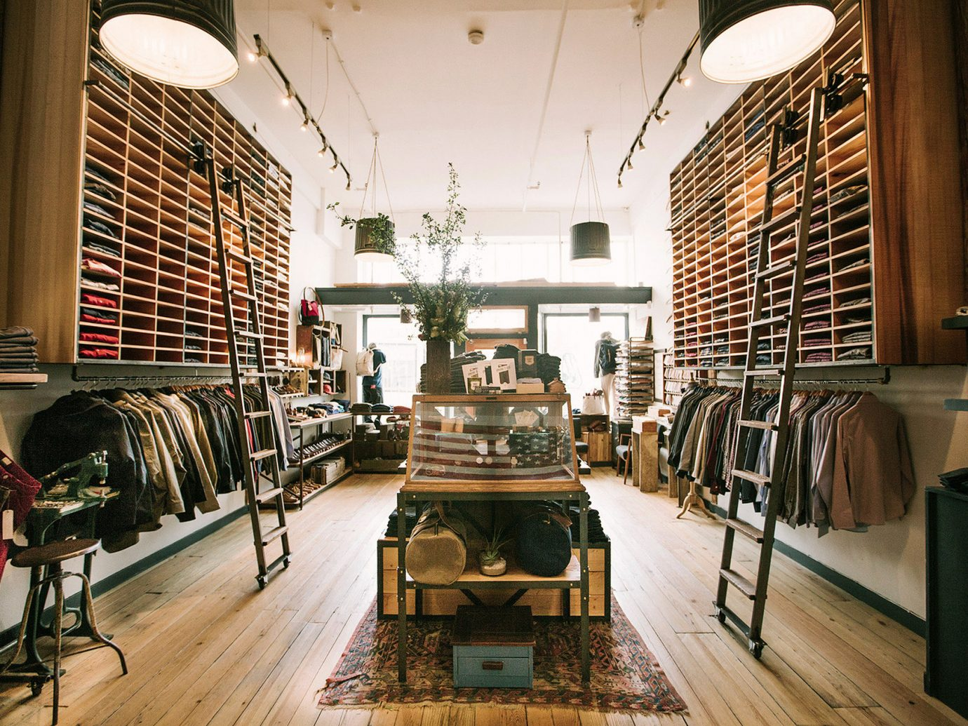 apparel Boutique clothes clothing Hip interior jackets ladders Luxury Shop shopping sophisticated store Style + Design trendy indoor floor building room interior design retail tourist attraction Design furniture