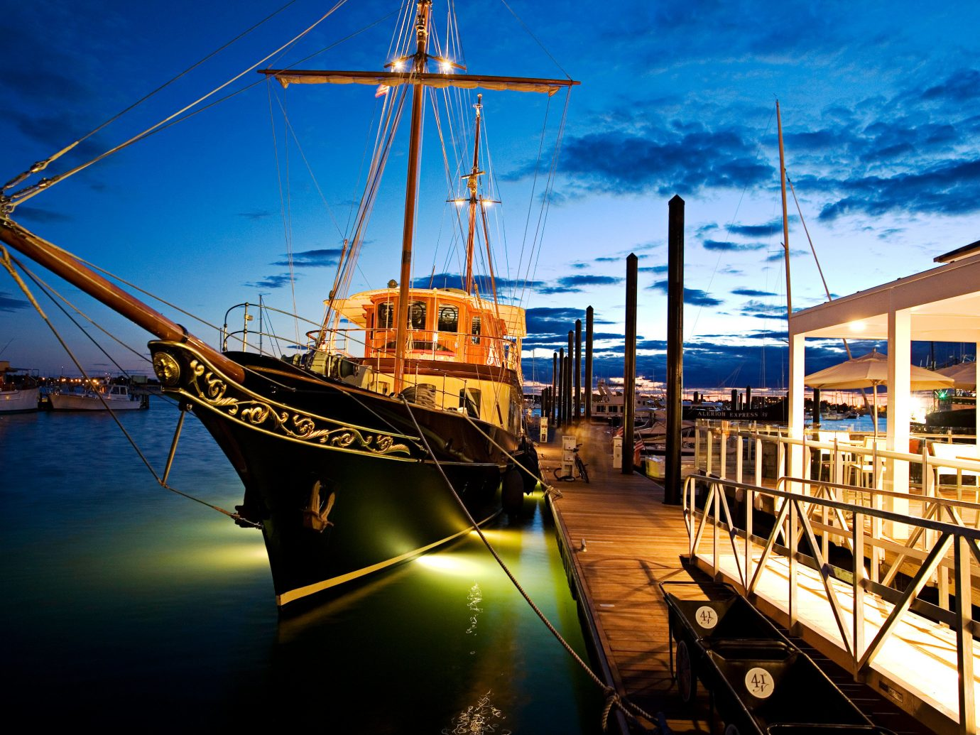 Hotels Boat outdoor sky water vehicle scene reflection night Sea evening Harbor watercraft sailing ship Sunset dock ship tall ship mast dusk cityscape port docked marina