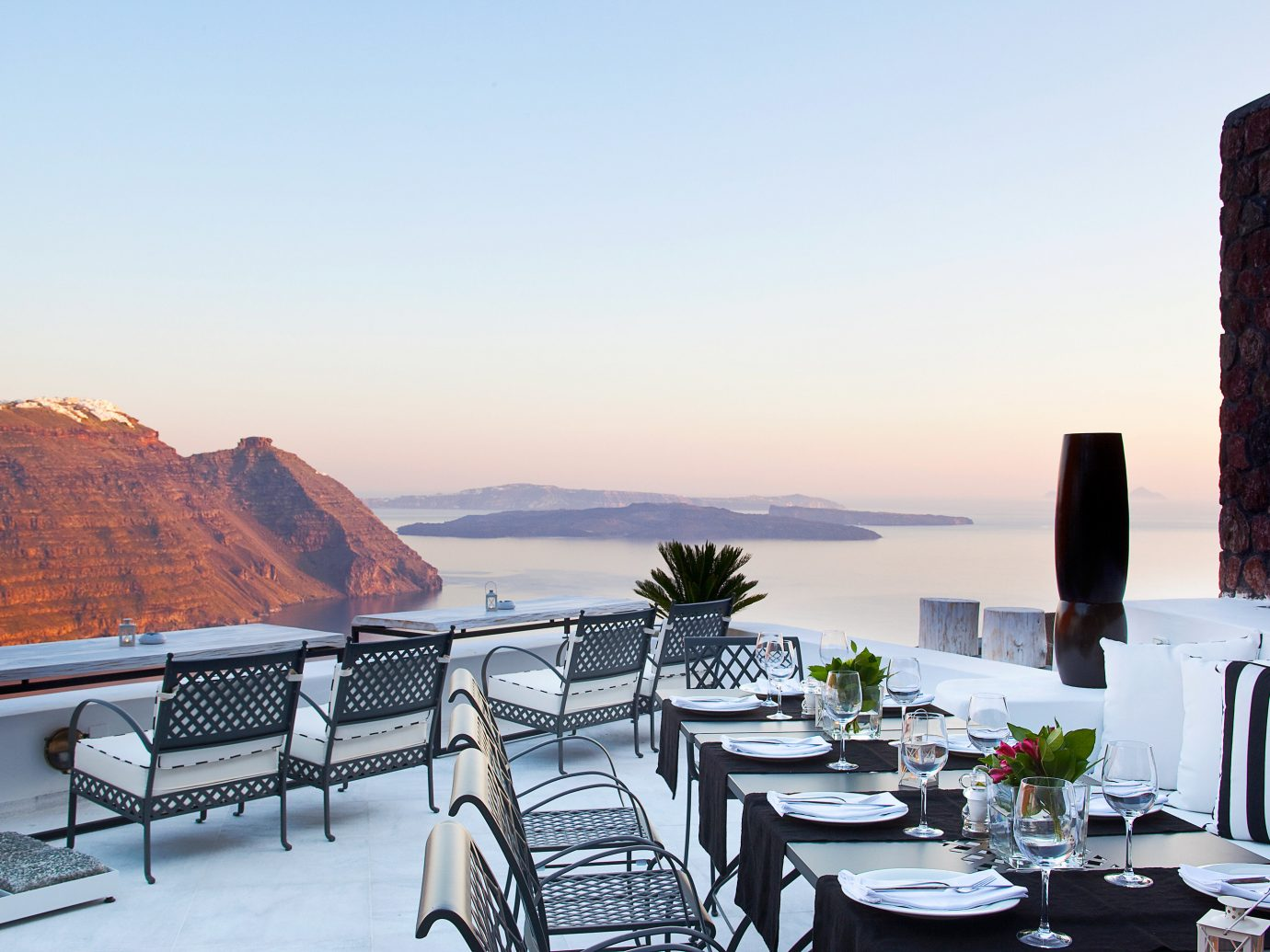 Bar Dining Drink Eat Elegant Trip Ideas sky table chair vacation restaurant estate overlooking set dining table