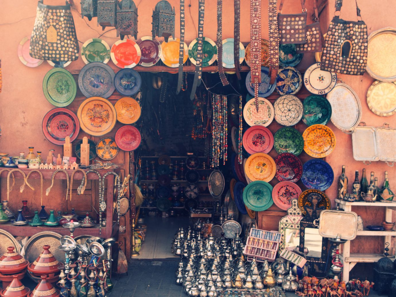 Travel Tips color art painting bazaar market decorated several sale Shop