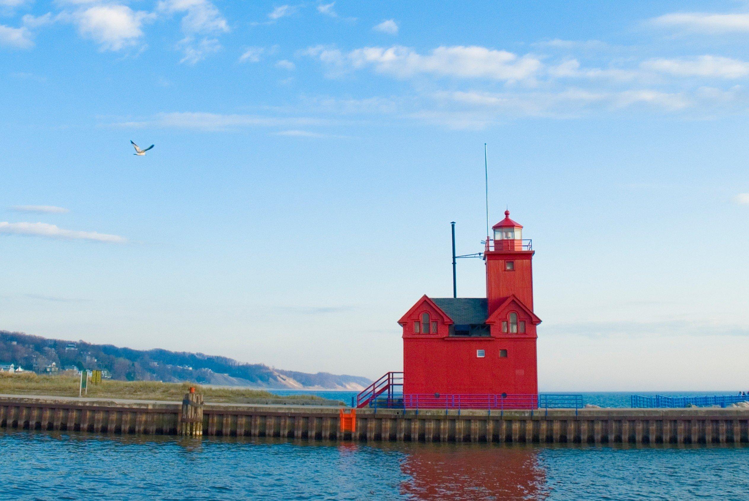 Trip Ideas sky water outdoor tower Sea scene channel Harbor Coast lighthouse blue